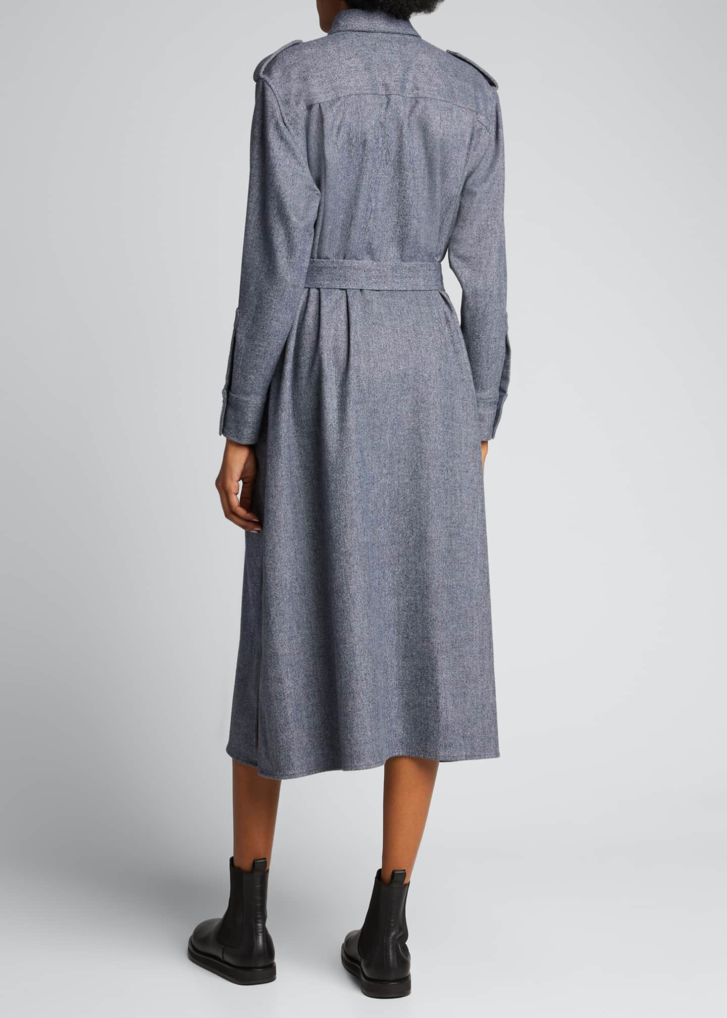 Image 2 of 5: Maxi Collared Button-Front Wool Shirtdress
