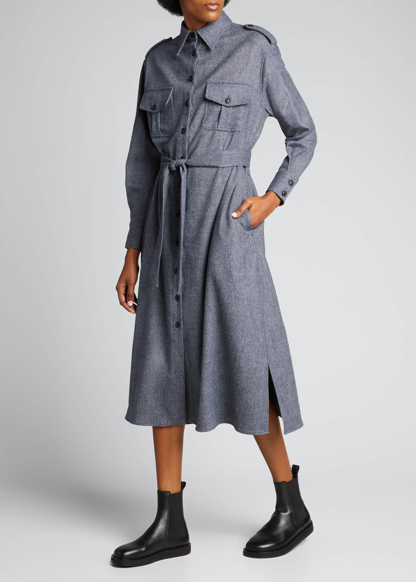Image 3 of 5: Maxi Collared Button-Front Wool Shirtdress