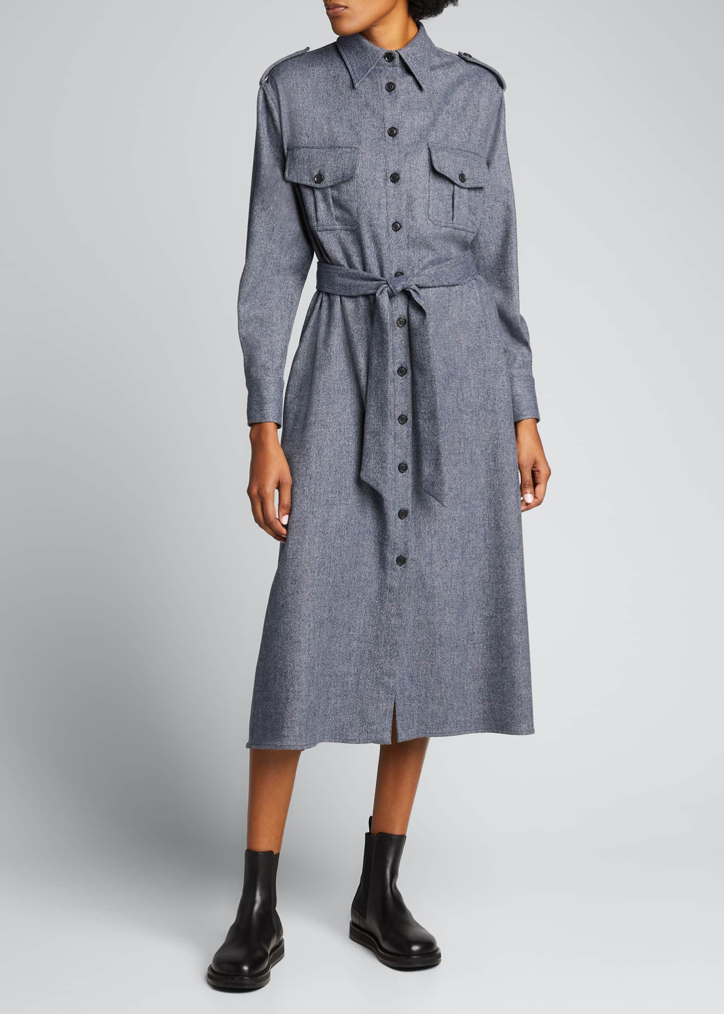 Image 1 of 5: Maxi Collared Button-Front Wool Shirtdress
