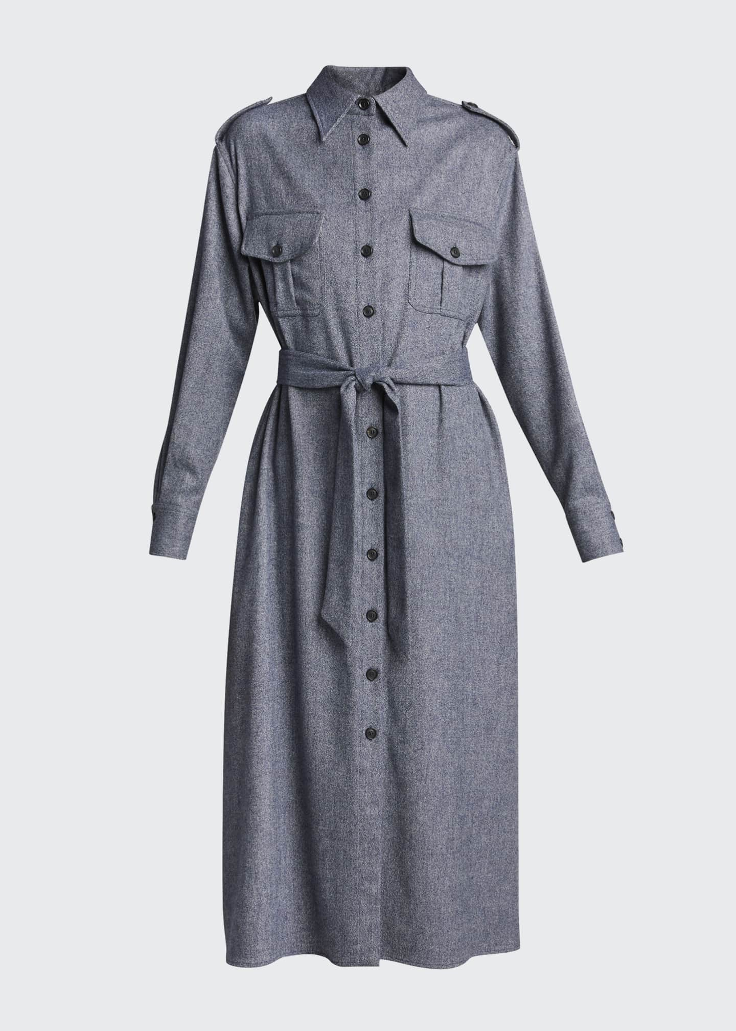 Image 5 of 5: Maxi Collared Button-Front Wool Shirtdress