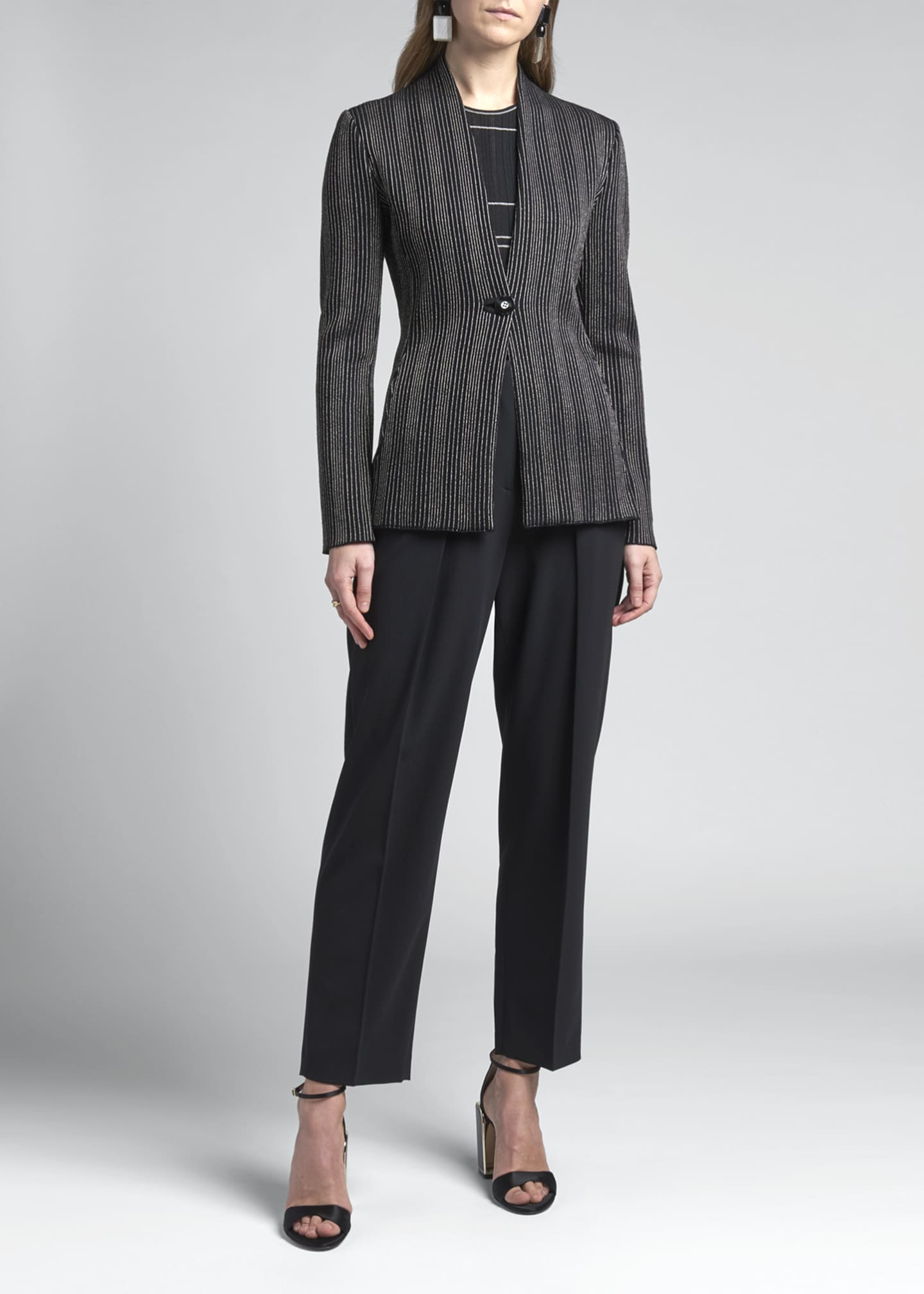 Image 3 of 4: Vertical Striped Jersey Jacket