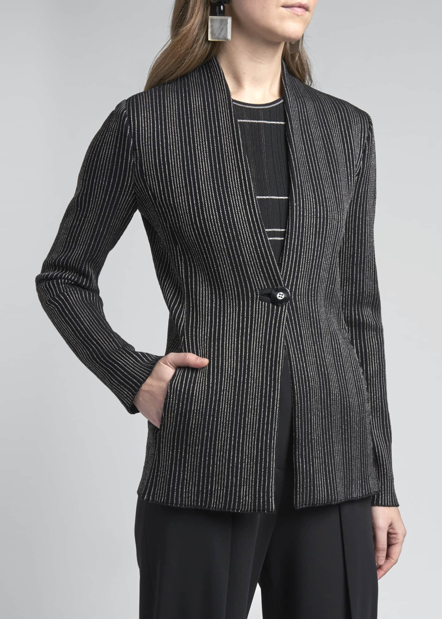 Image 4 of 4: Vertical Striped Jersey Jacket