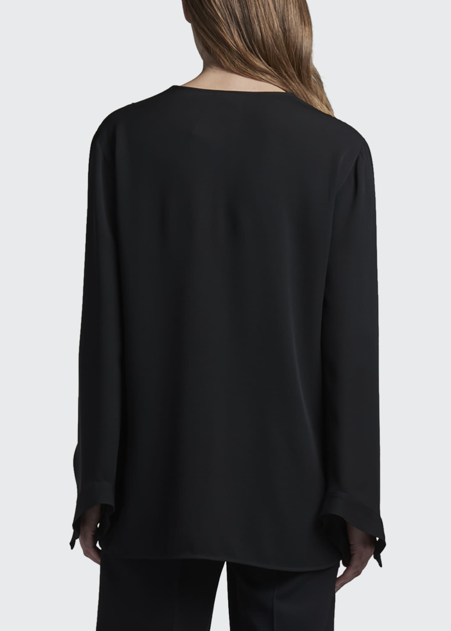 Image 2 of 3: Folded Silk V-Neck Tunic