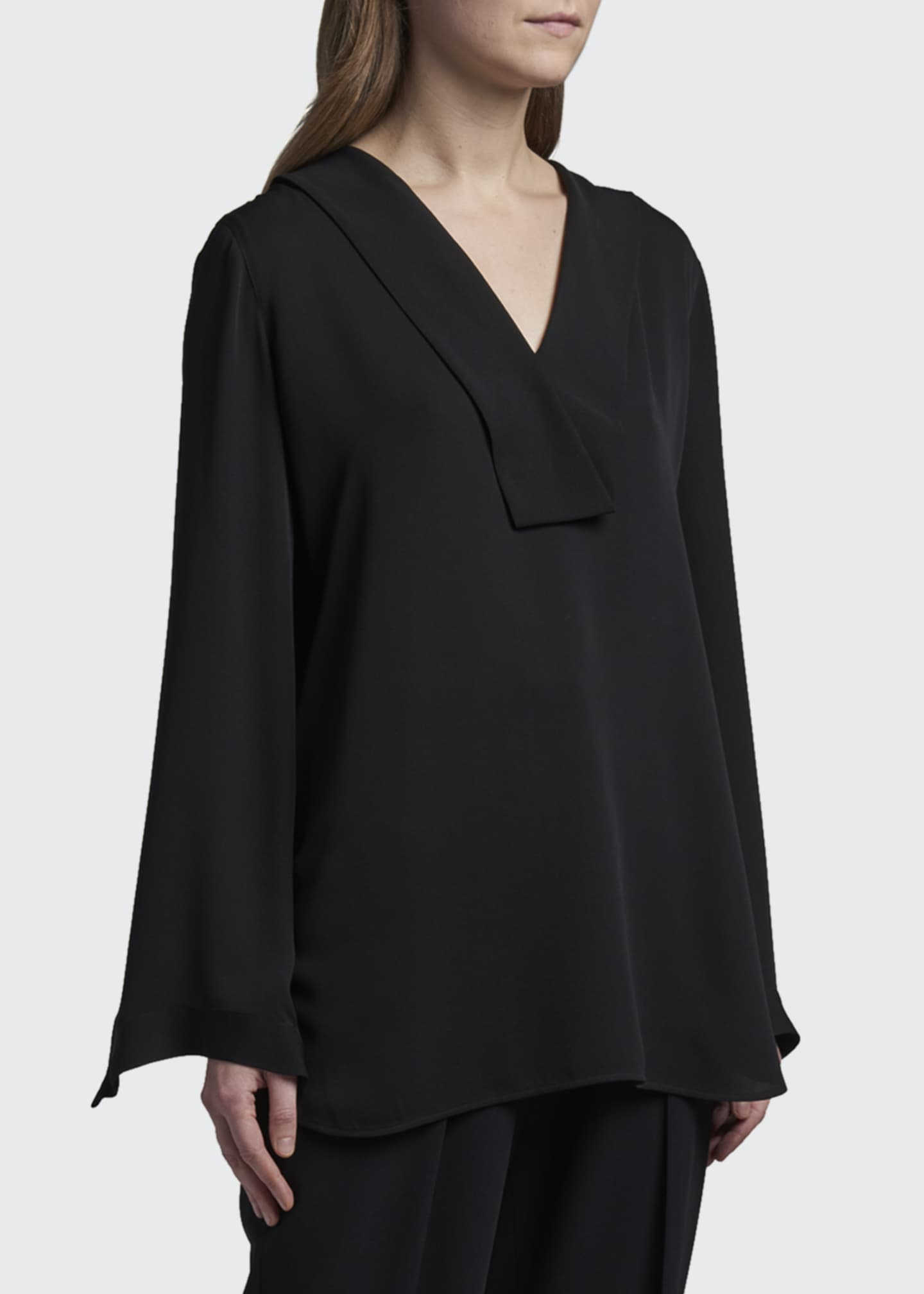 Image 3 of 3: Folded Silk V-Neck Tunic