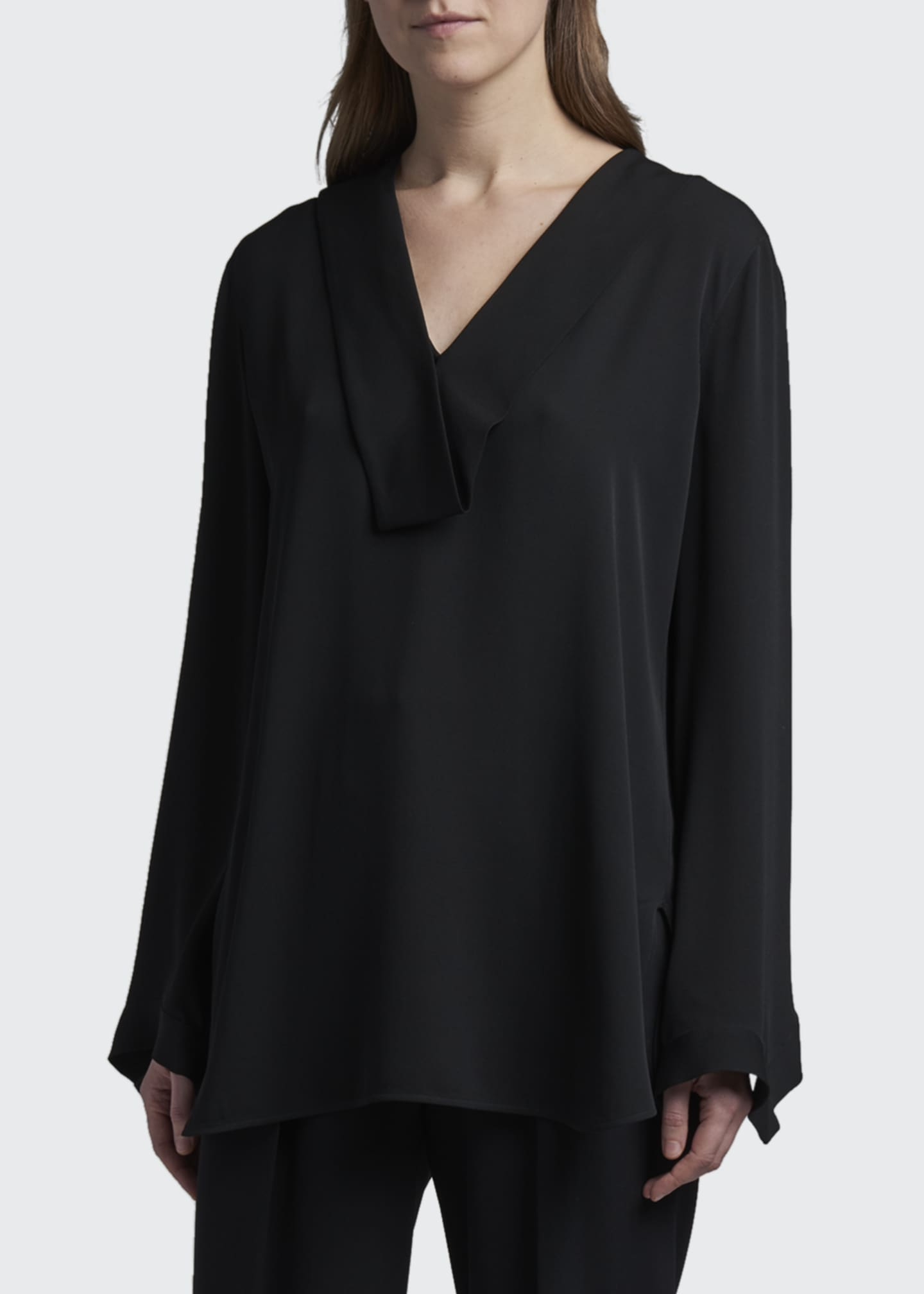 Image 1 of 3: Folded Silk V-Neck Tunic