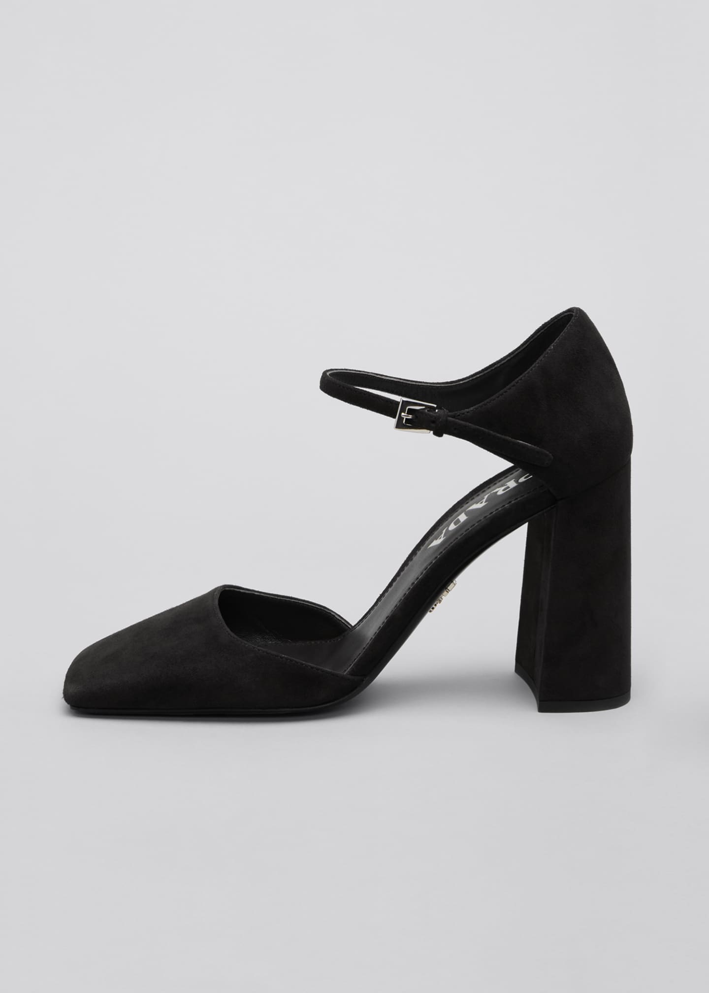 Image 1 of 3: 95mm Suede Square-Toe Mary Jane Pumps