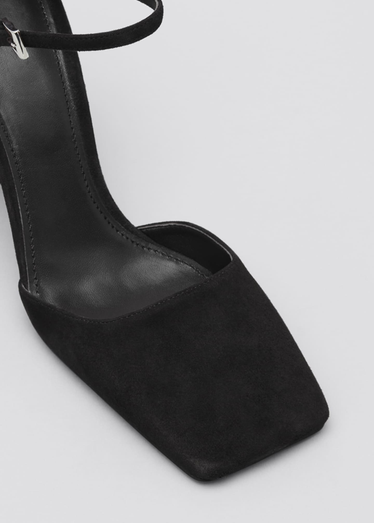 Image 3 of 3: 95mm Suede Square-Toe Mary Jane Pumps