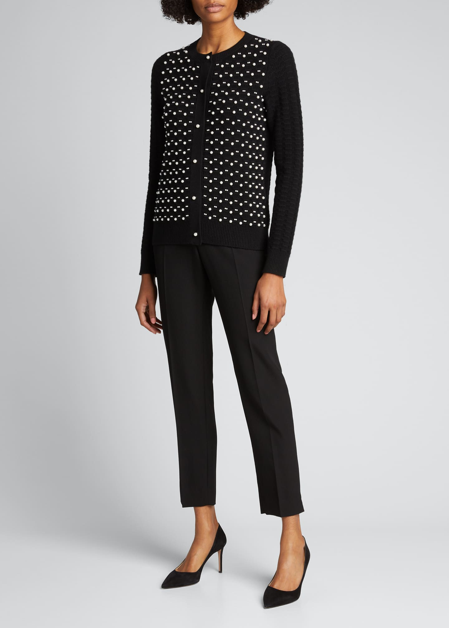 Image 1 of 5: Pearl Embroidered Wool/Cashmere Cardigan