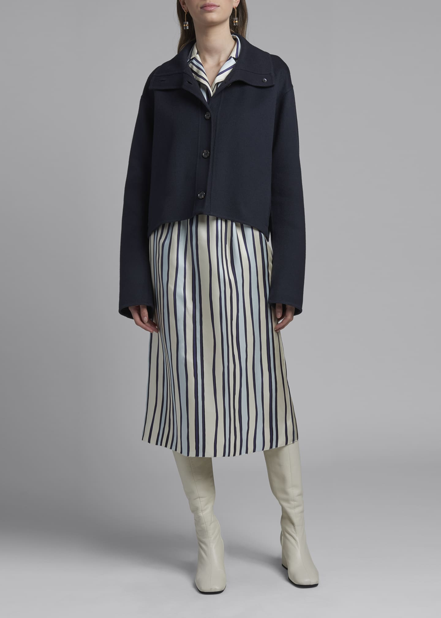 Image 1 of 3: Wool-Cashmere Cropped Sweater Jacket