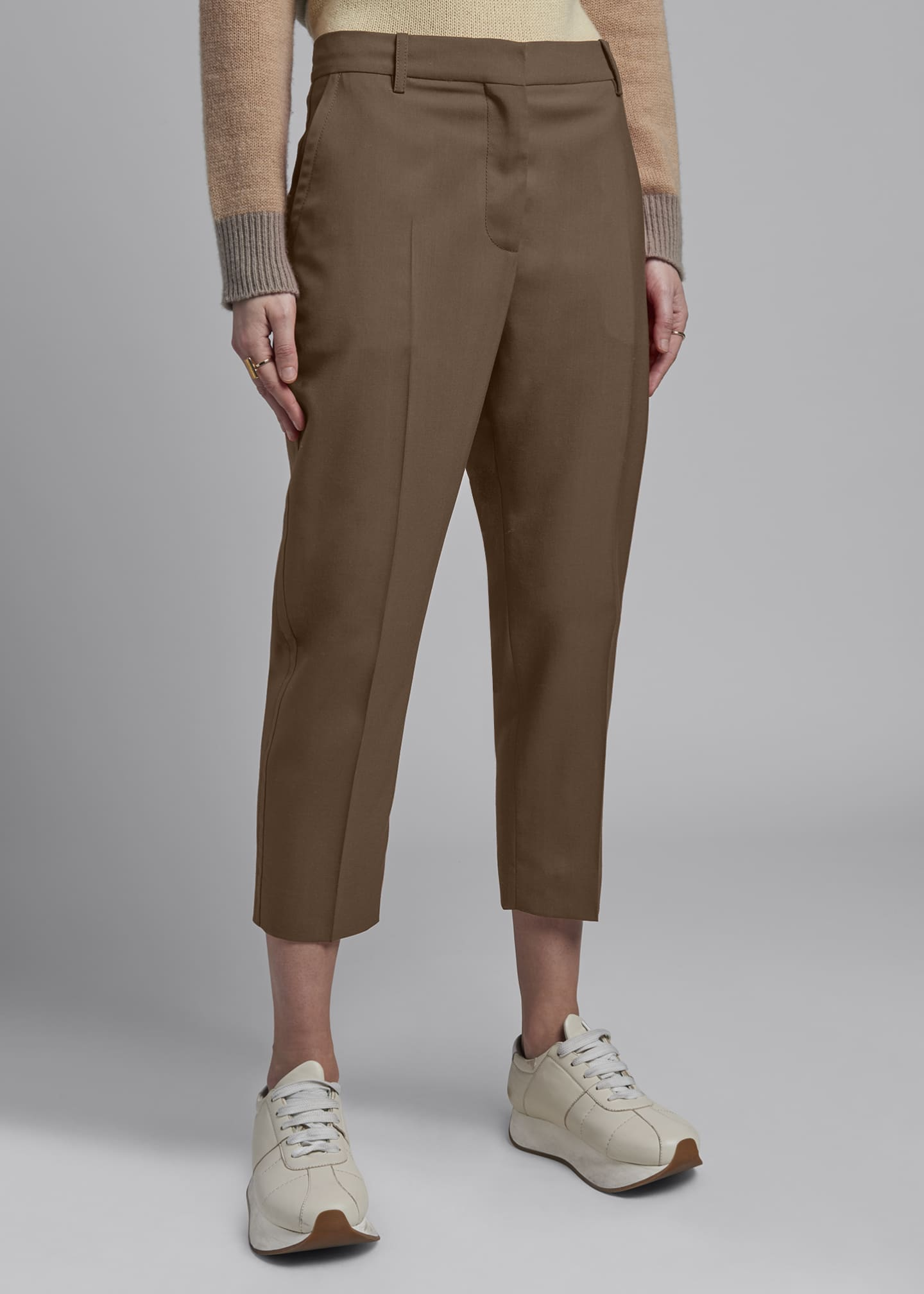 Image 3 of 3: Cropped Tropical Wool Trousers