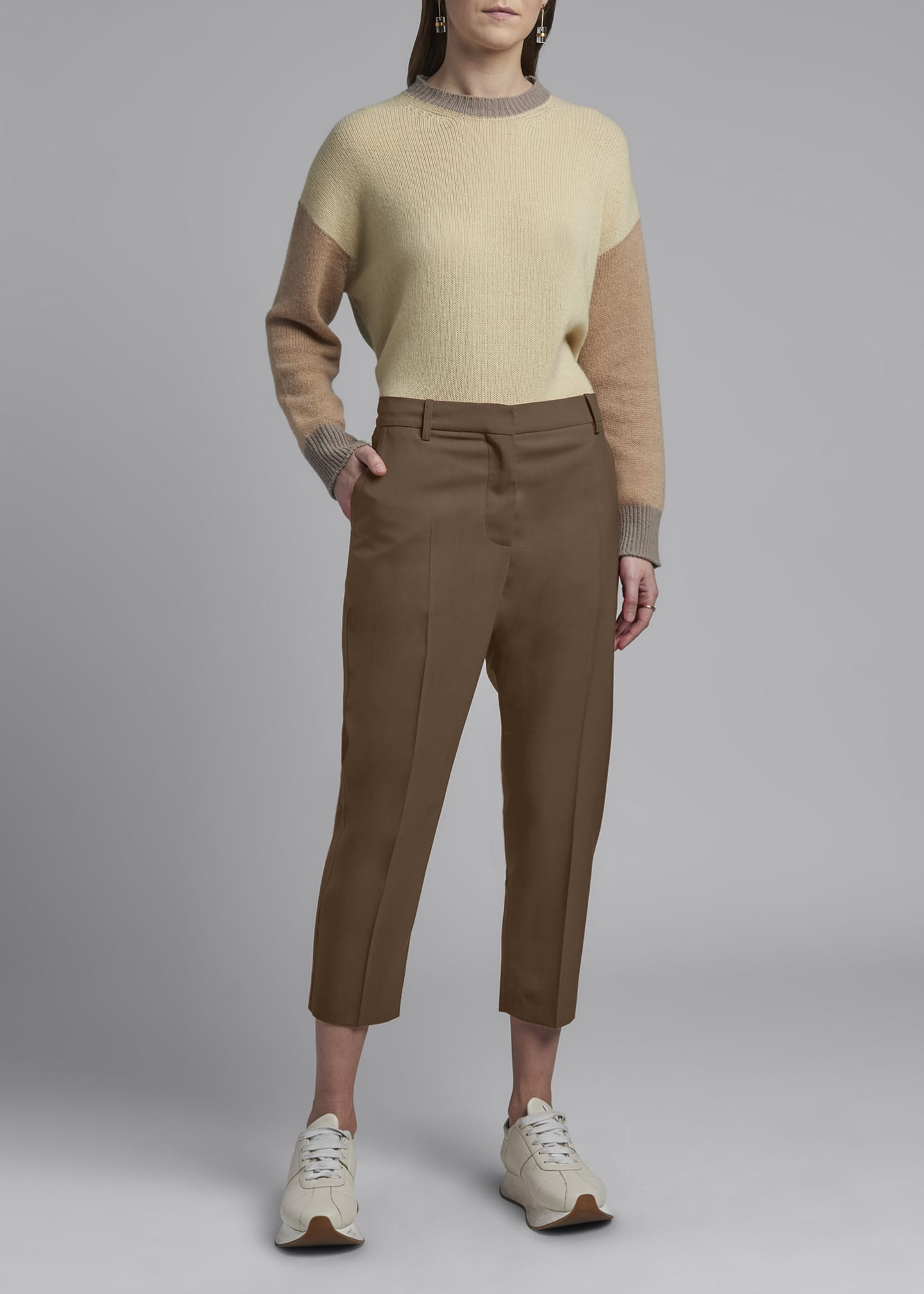 Image 1 of 3: Cropped Tropical Wool Trousers