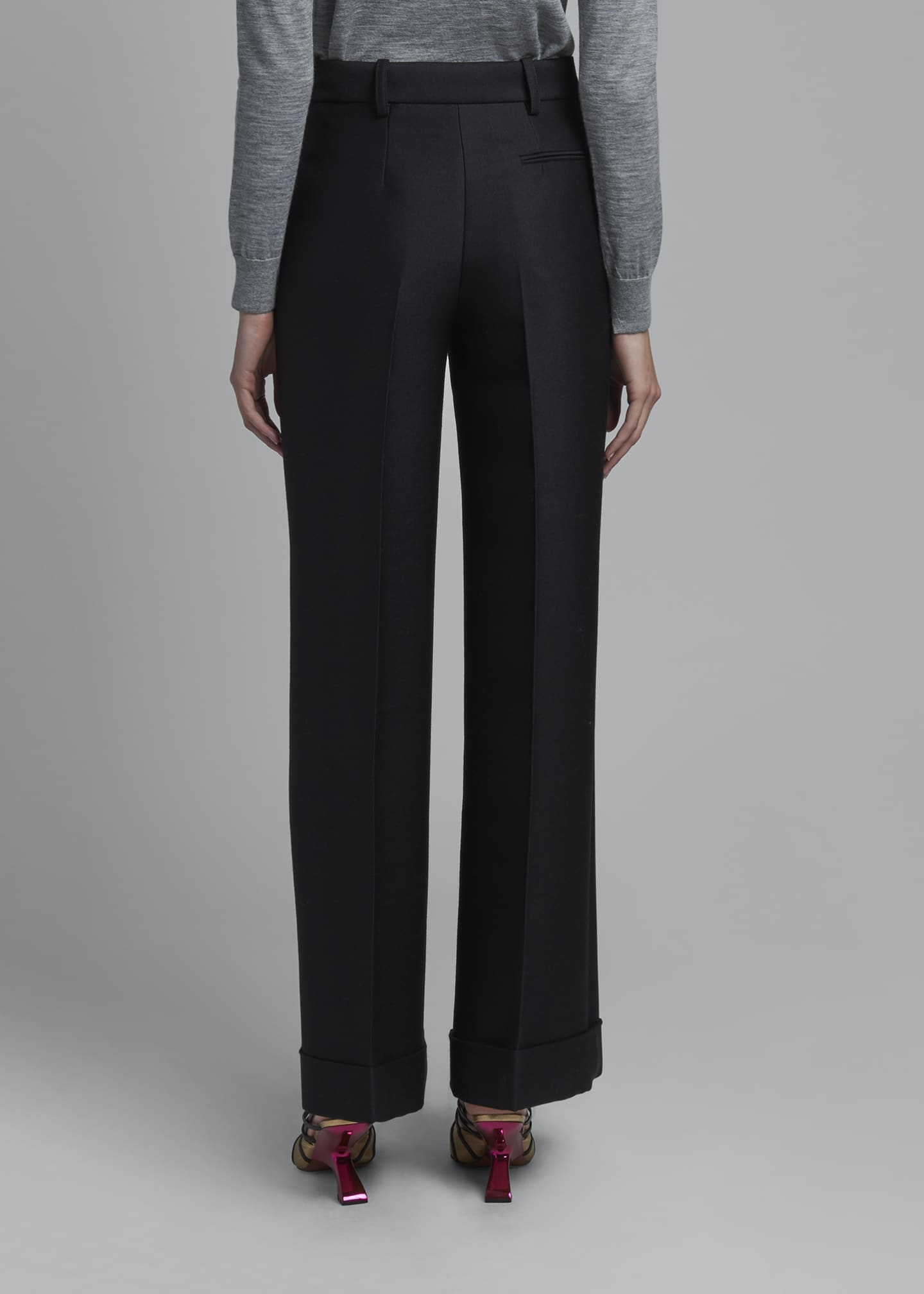 Image 2 of 3: High-Rise Wool Cuffed Trousers