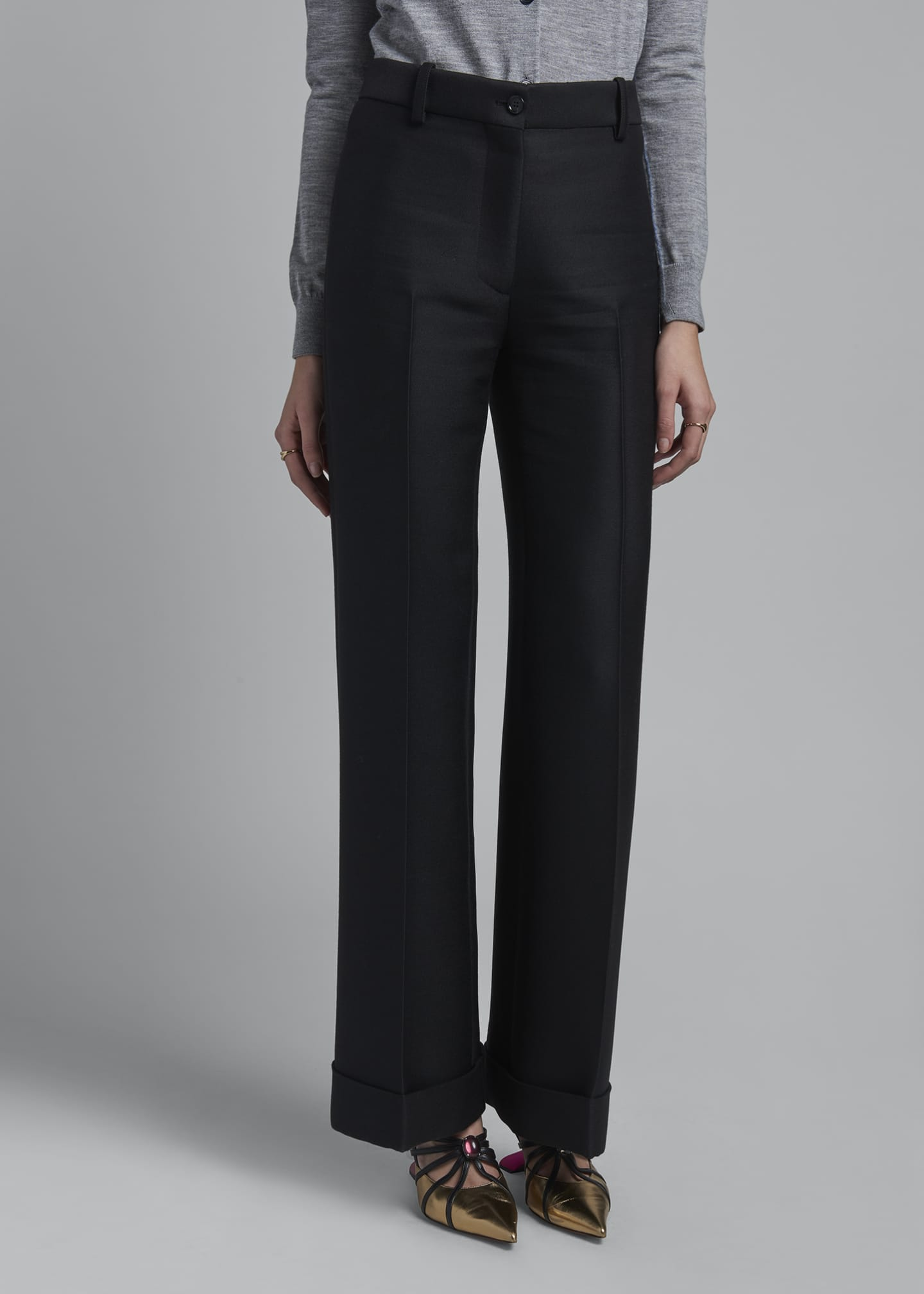 Image 3 of 3: High-Rise Wool Cuffed Trousers