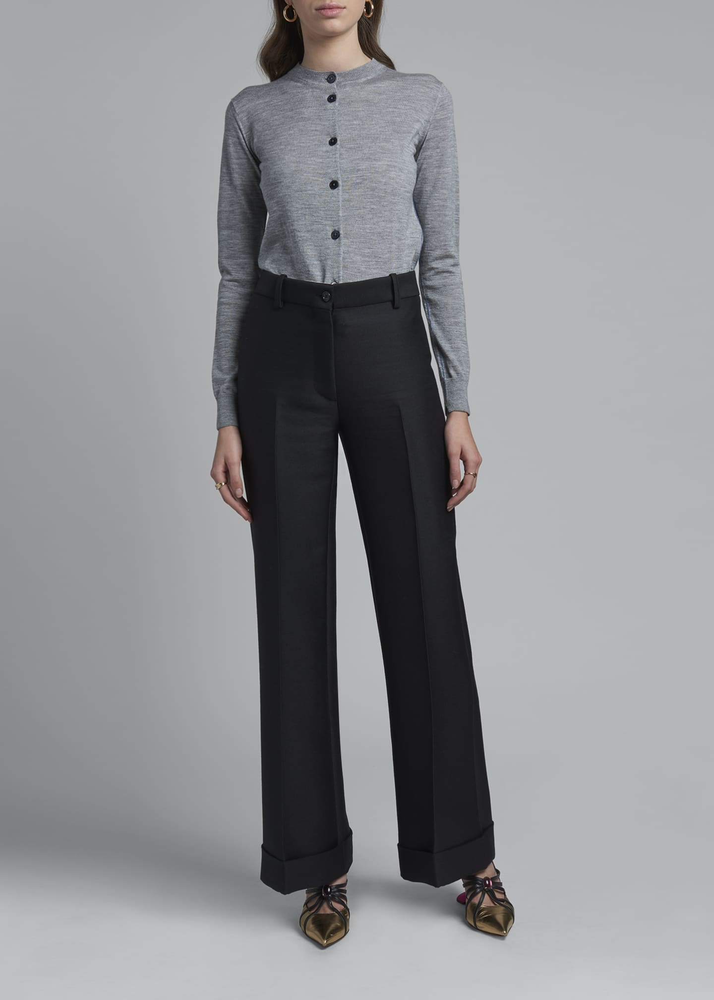 Image 1 of 3: High-Rise Wool Cuffed Trousers