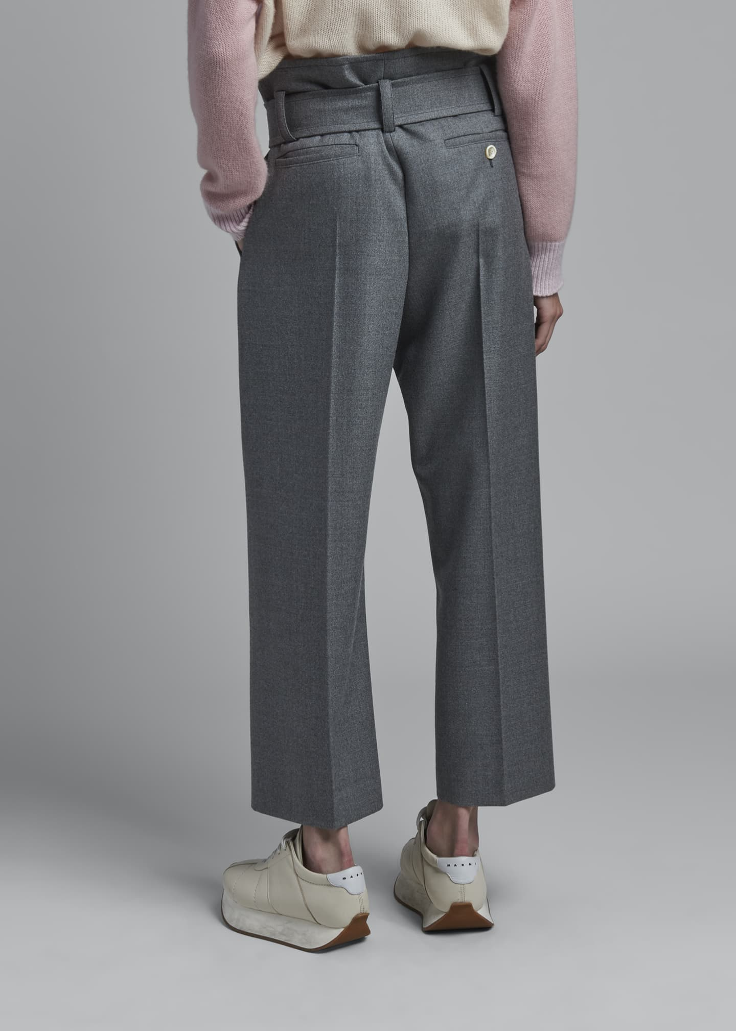 Image 2 of 3: Wool Belted Trousers