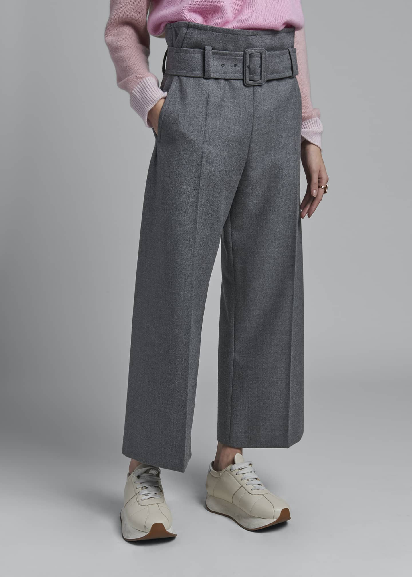 Image 3 of 3: Wool Belted Trousers