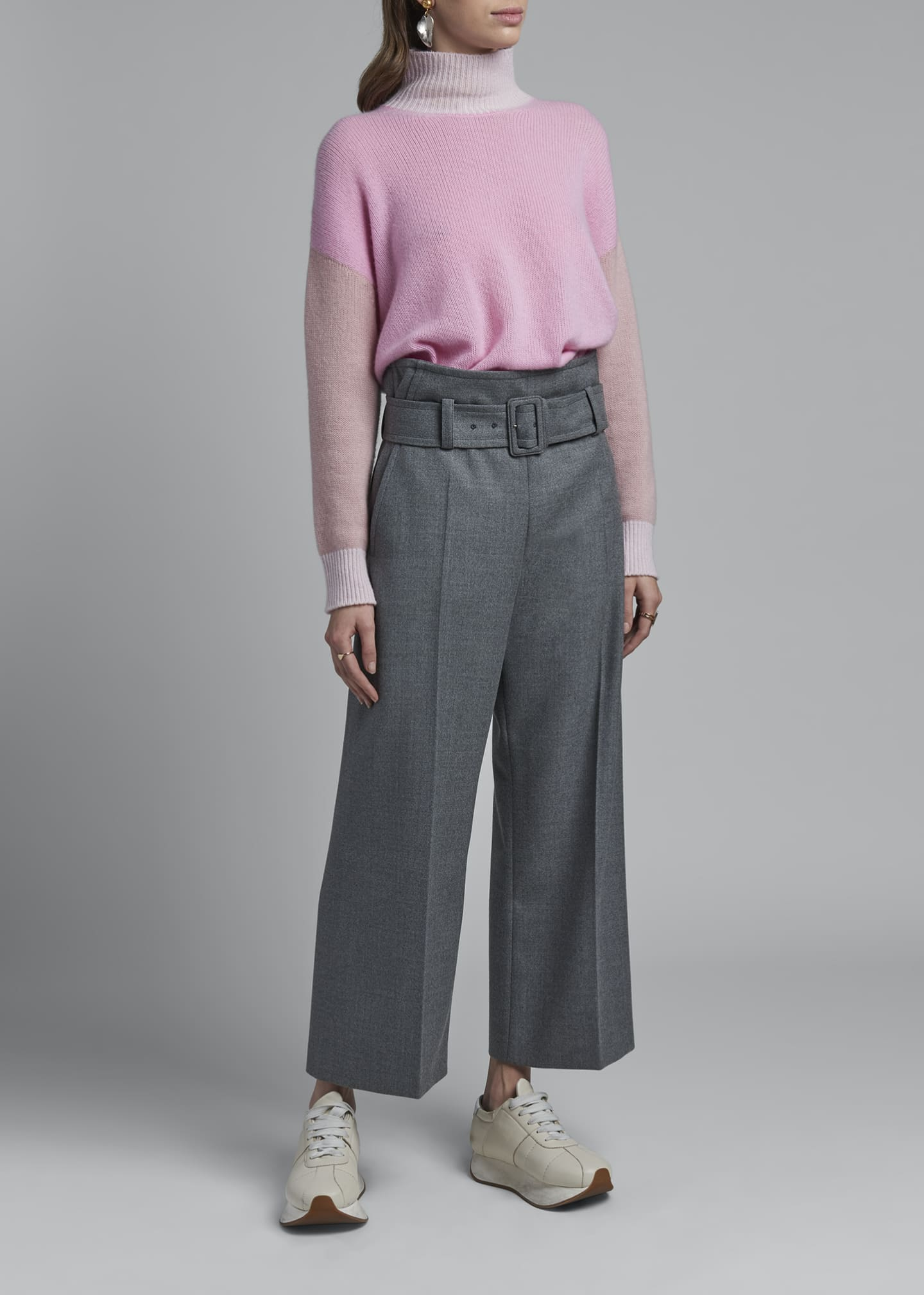Image 1 of 3: Wool Belted Trousers