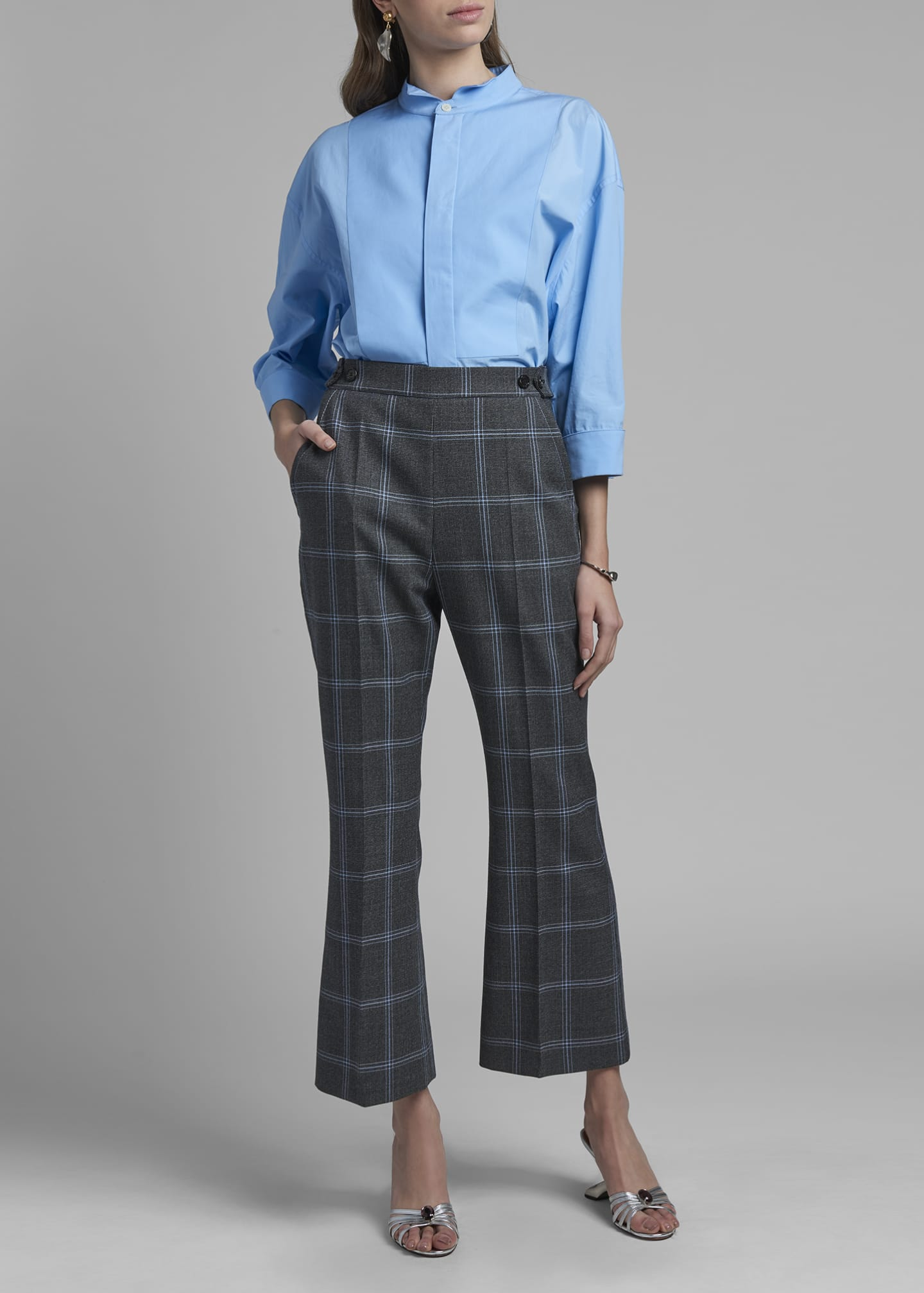 Image 1 of 3: Tropical Wool Cropped Kick-Flare Trousers
