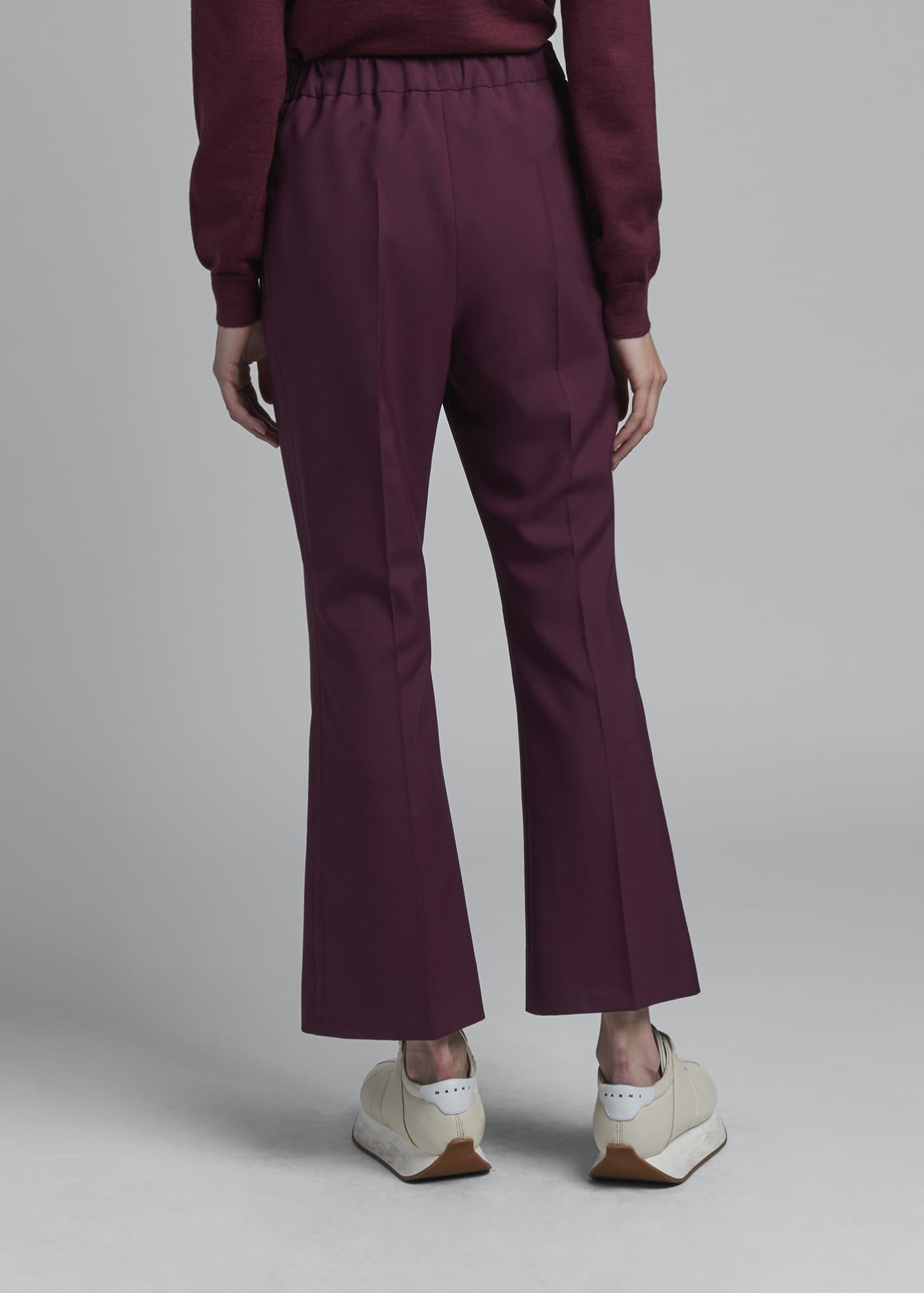 Image 2 of 3: Cropped Kick Flare Tropical Wool Trousers