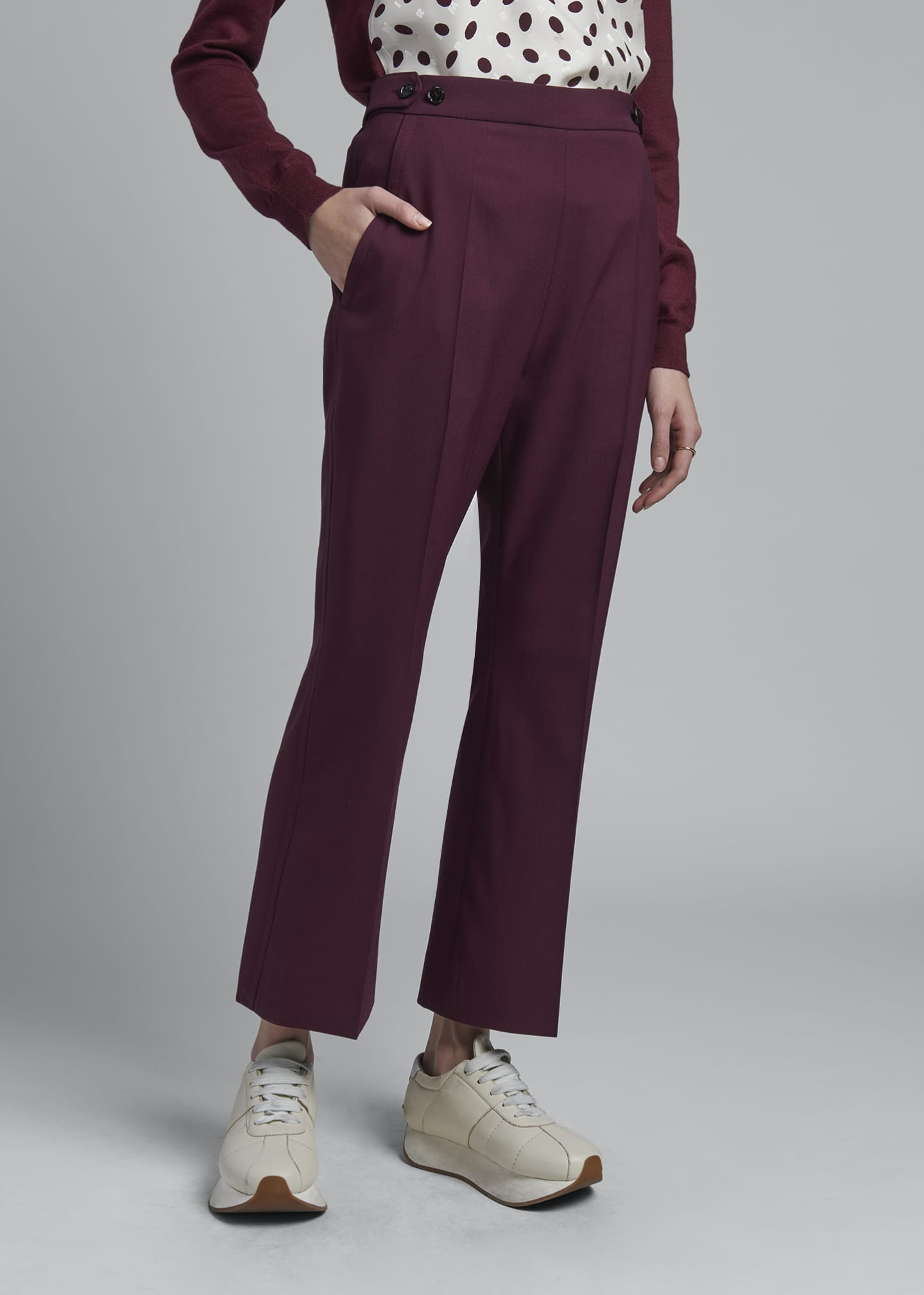 Image 3 of 3: Cropped Kick Flare Tropical Wool Trousers