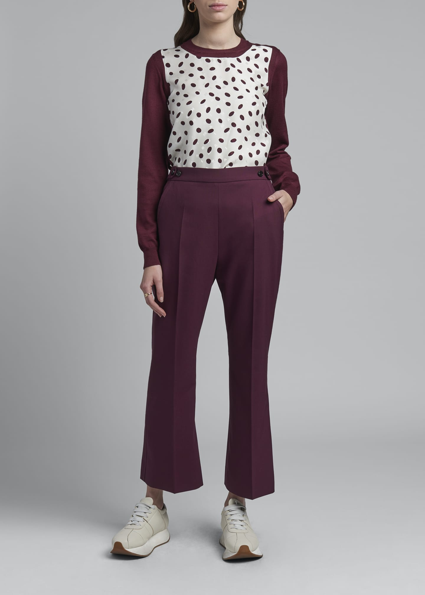 Cropped Kick Flare Tropical Wool Trousers