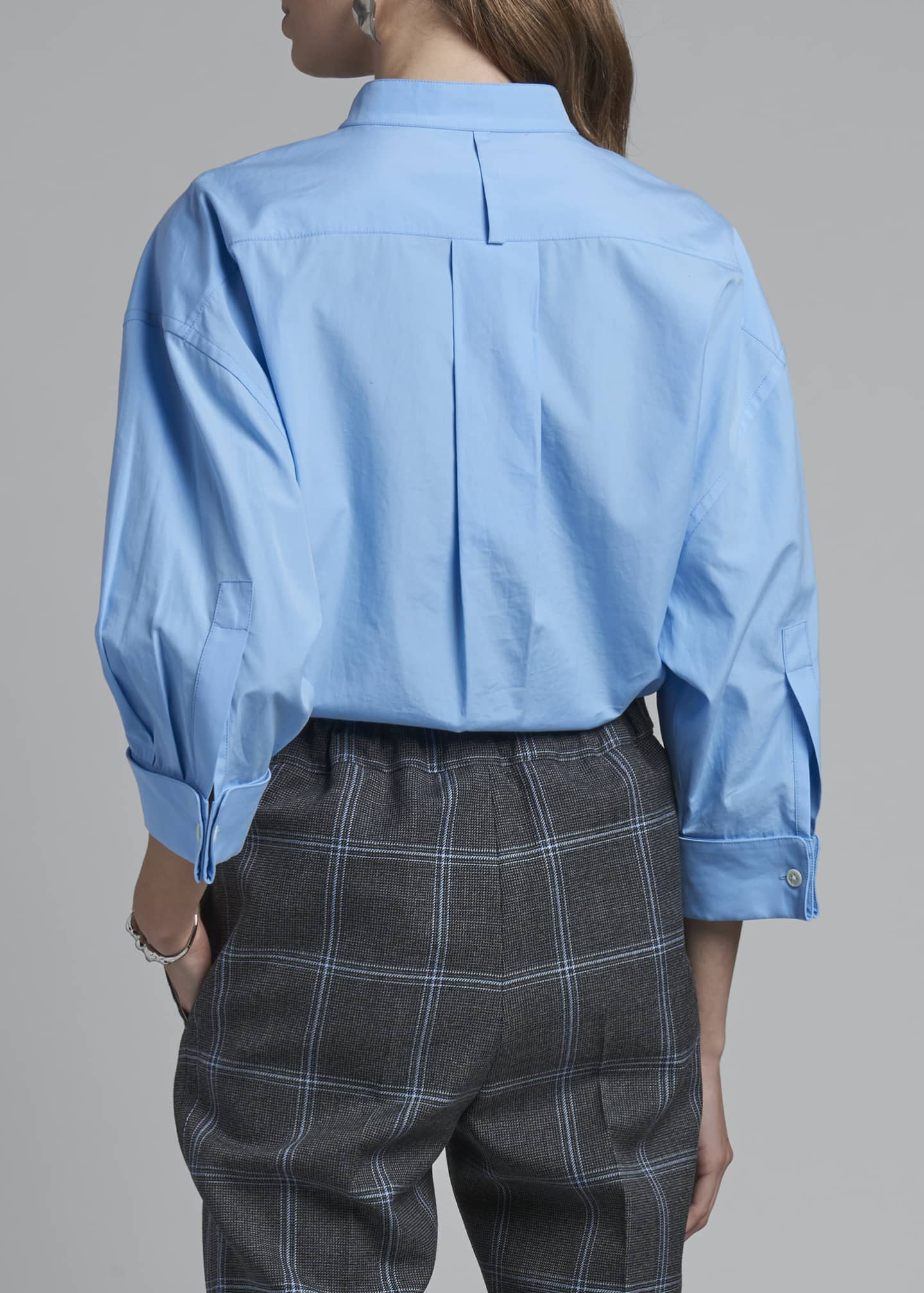 Image 2 of 3: Collarless Poplin 3/4-Sleeve Shirt