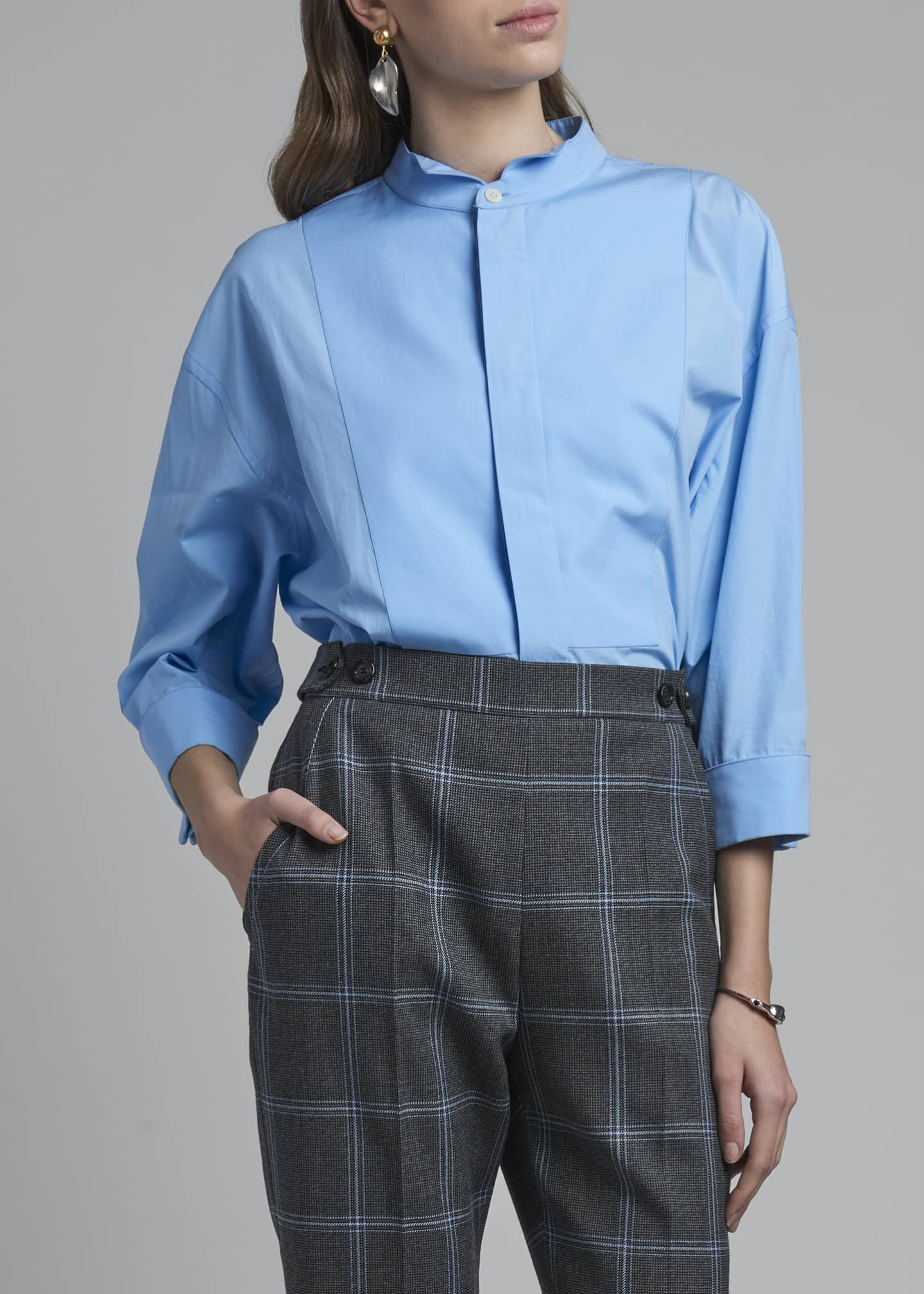 Image 3 of 3: Collarless Poplin 3/4-Sleeve Shirt