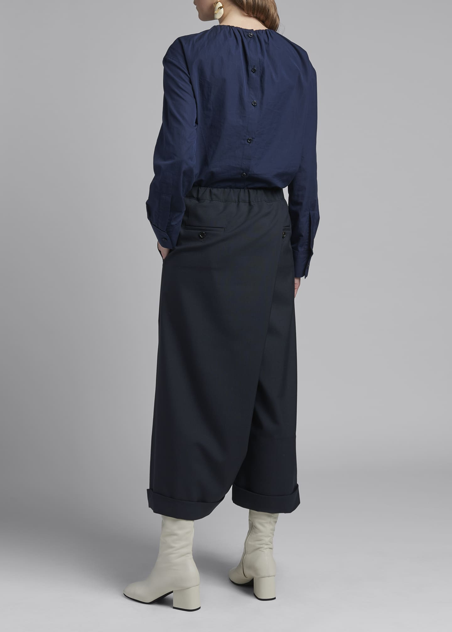 Image 2 of 3: Wide-Leg Tropical Wool Trousers