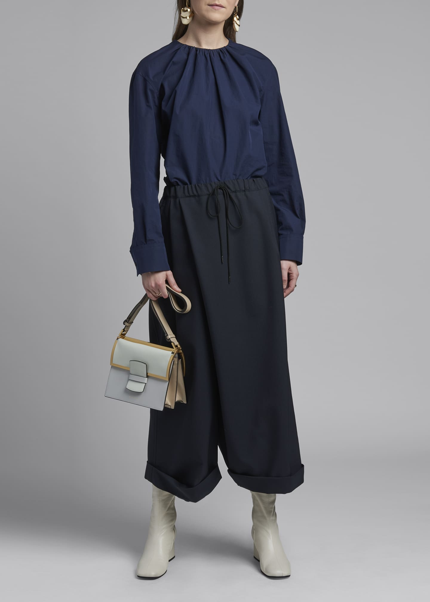 Image 1 of 3: Wide-Leg Tropical Wool Trousers