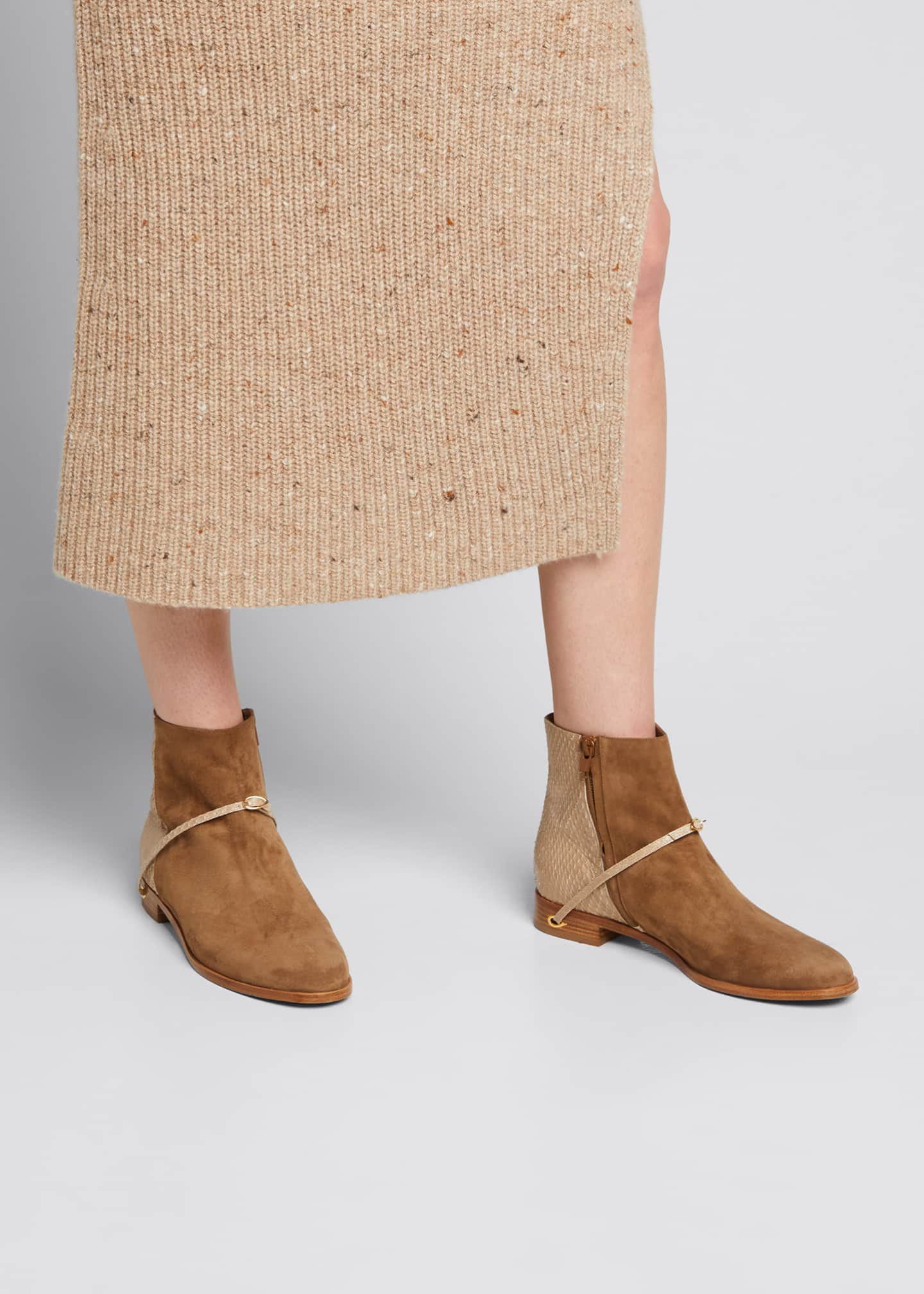 Image 2 of 5: Bicolor Suede Snakeskin Ankle Booties