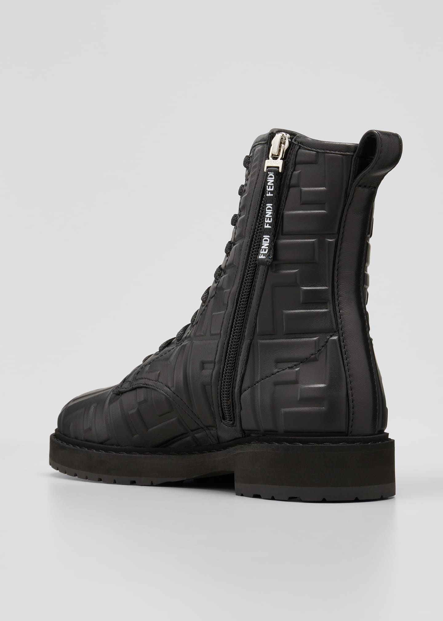 Image 2 of 3: FF Logo Leather Combat Booties