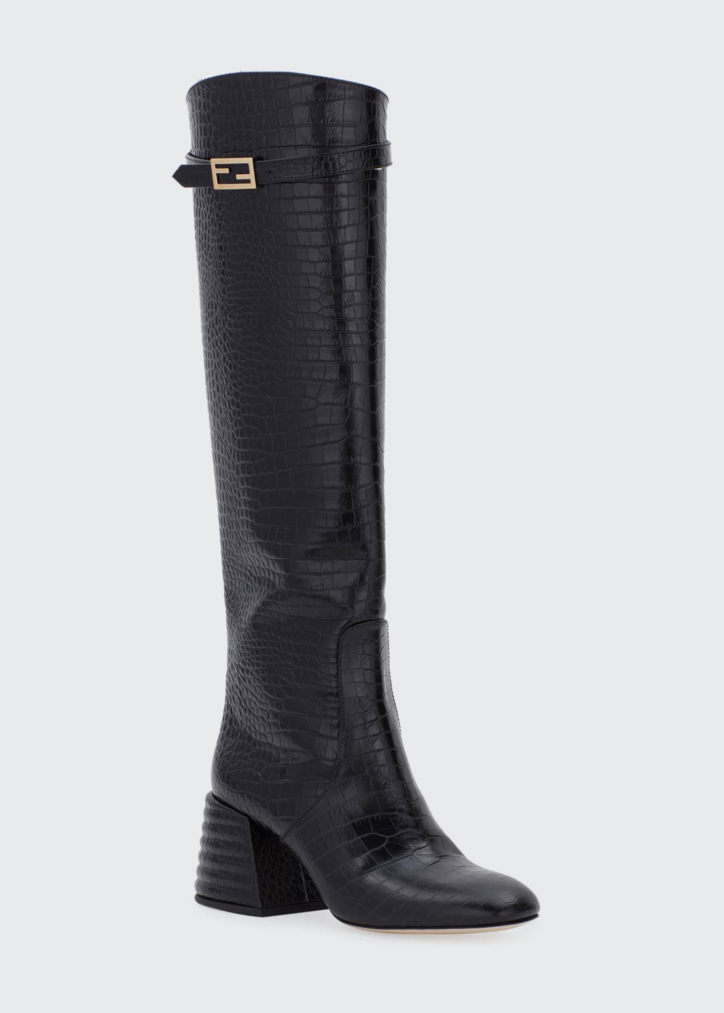 Image 2 of 4: 60mm Mock-Croc Tall Riding Boots