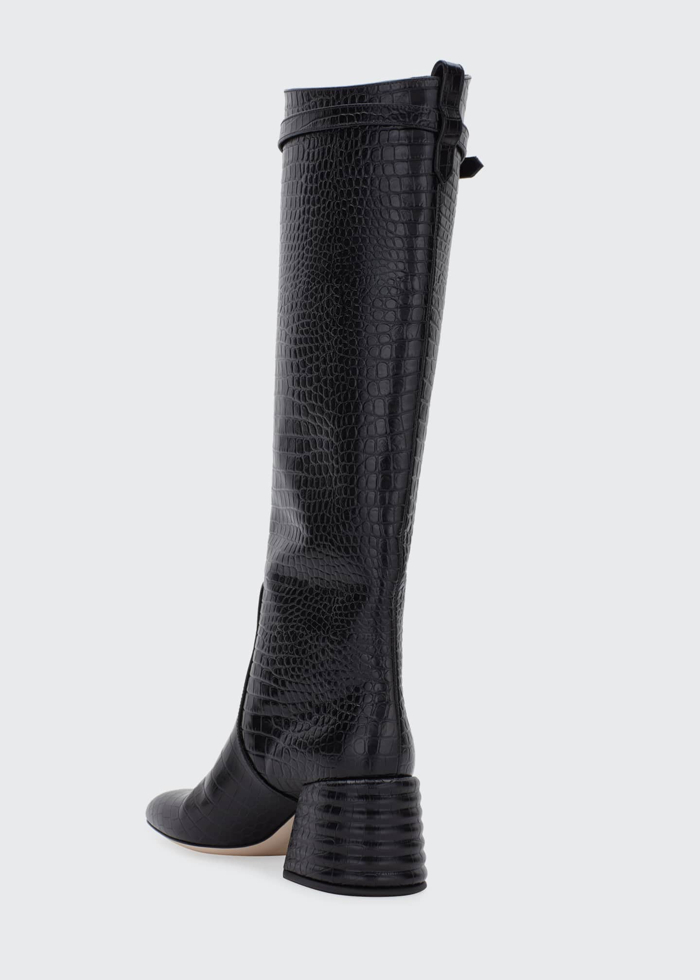 Image 4 of 4: 60mm Mock-Croc Tall Riding Boots