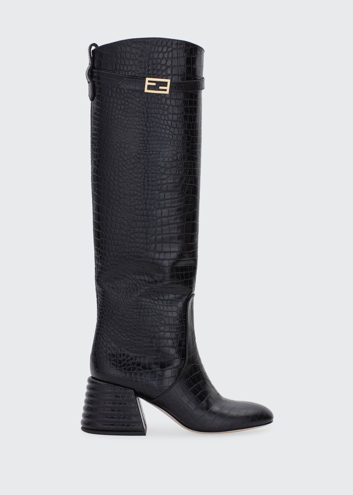 Image 1 of 4: 60mm Mock-Croc Tall Riding Boots