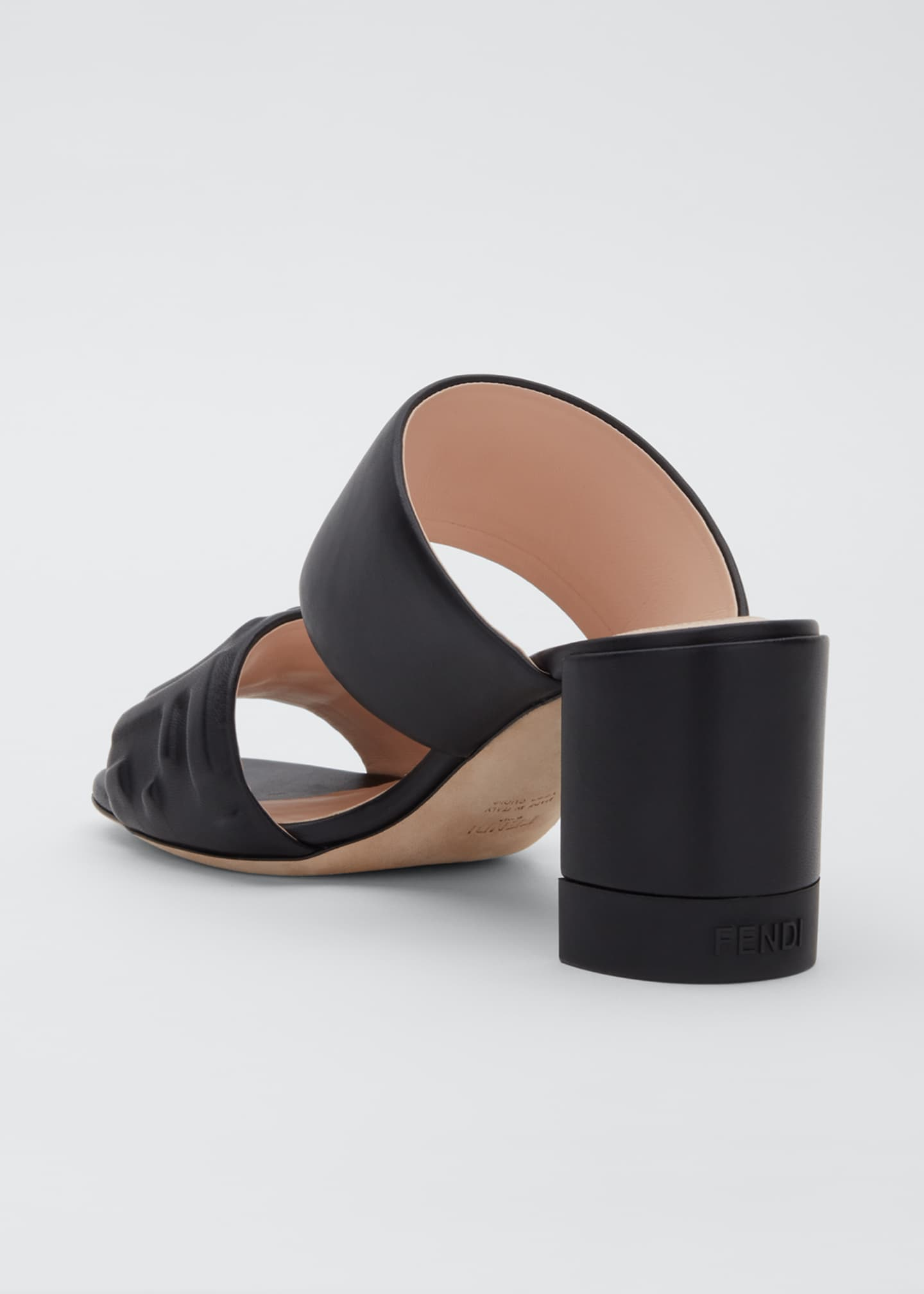 Image 2 of 3: FF Leather Two-Band Slide Sandals