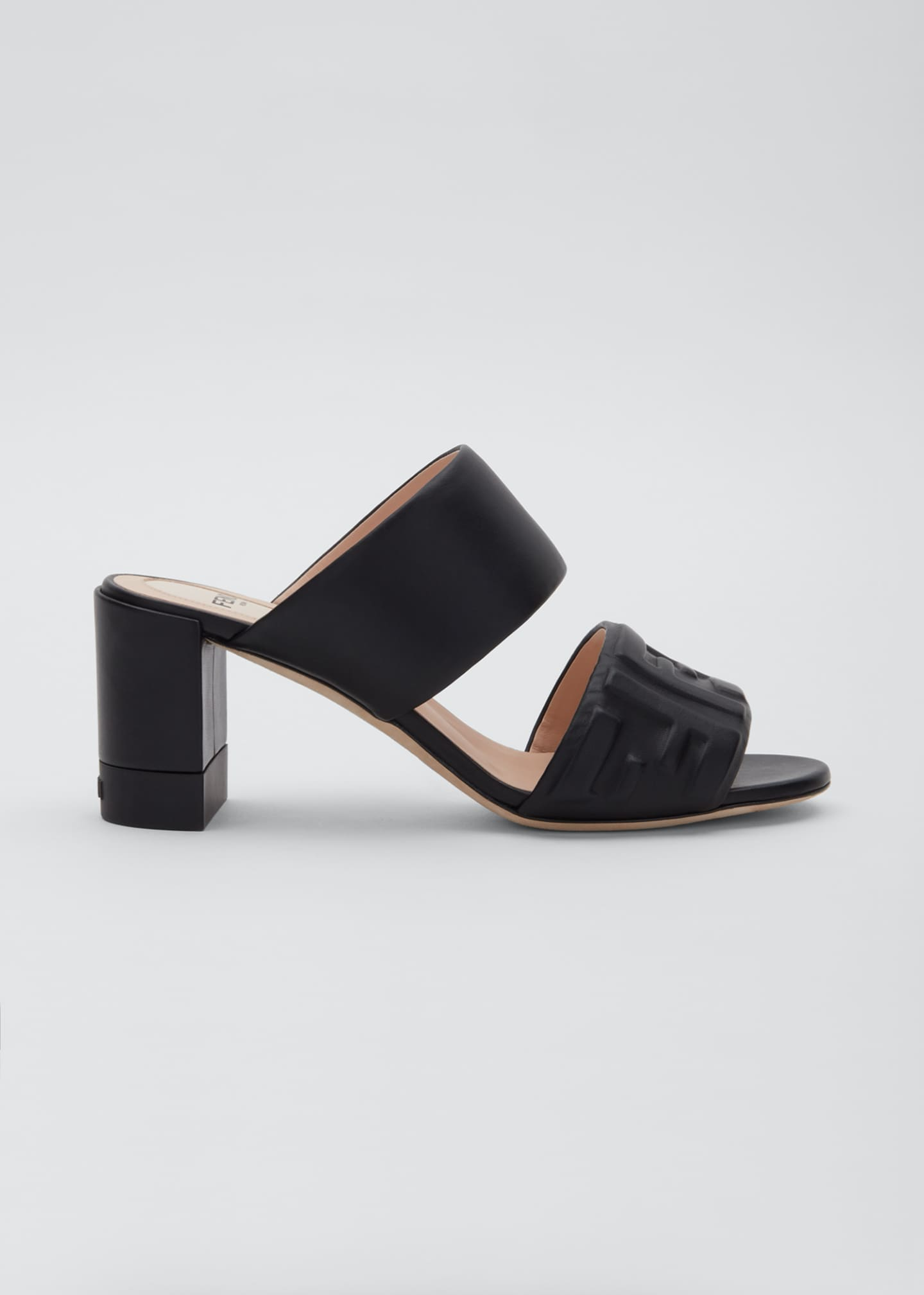 Image 1 of 3: FF Leather Two-Band Slide Sandals
