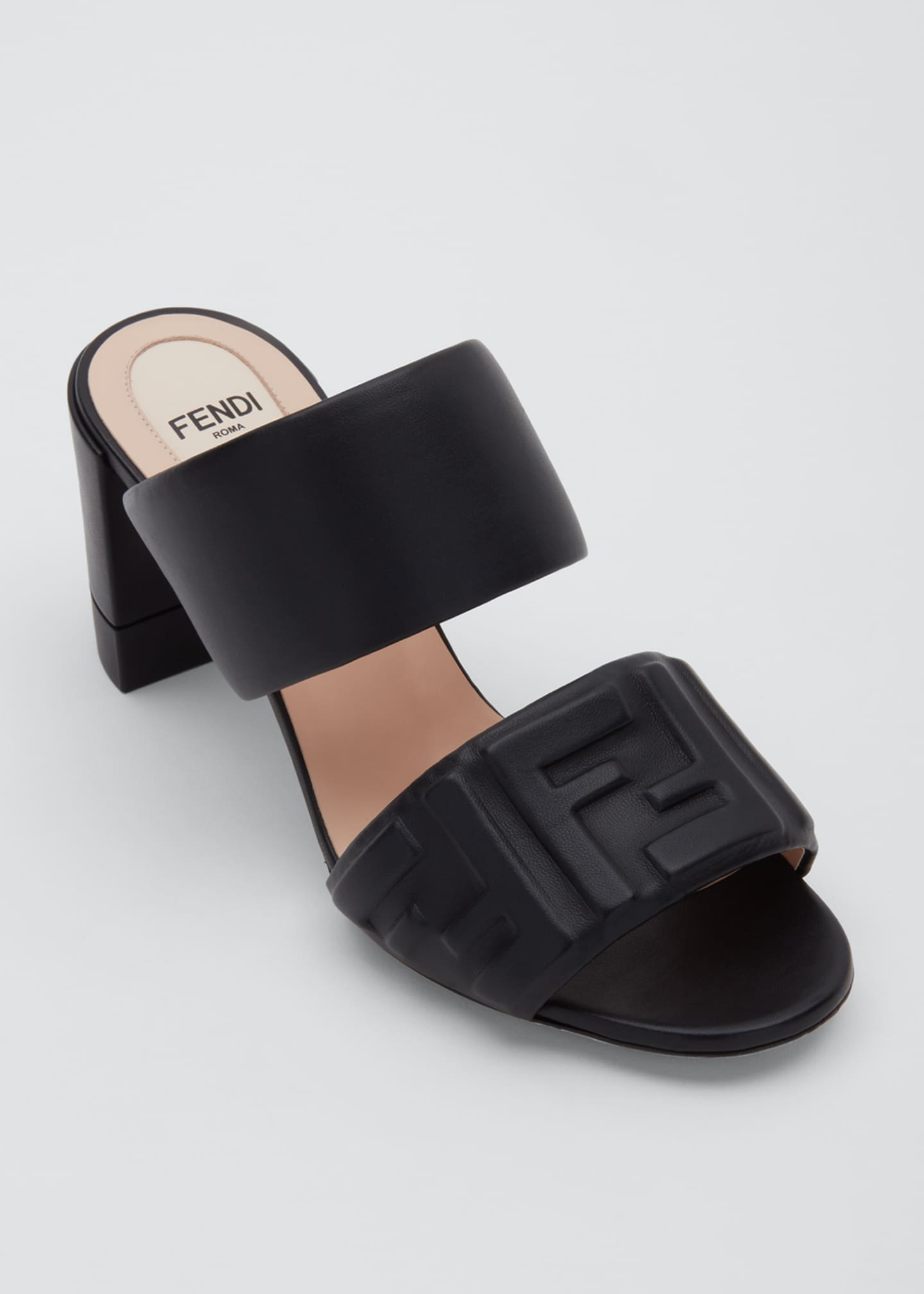Image 3 of 3: FF Leather Two-Band Slide Sandals