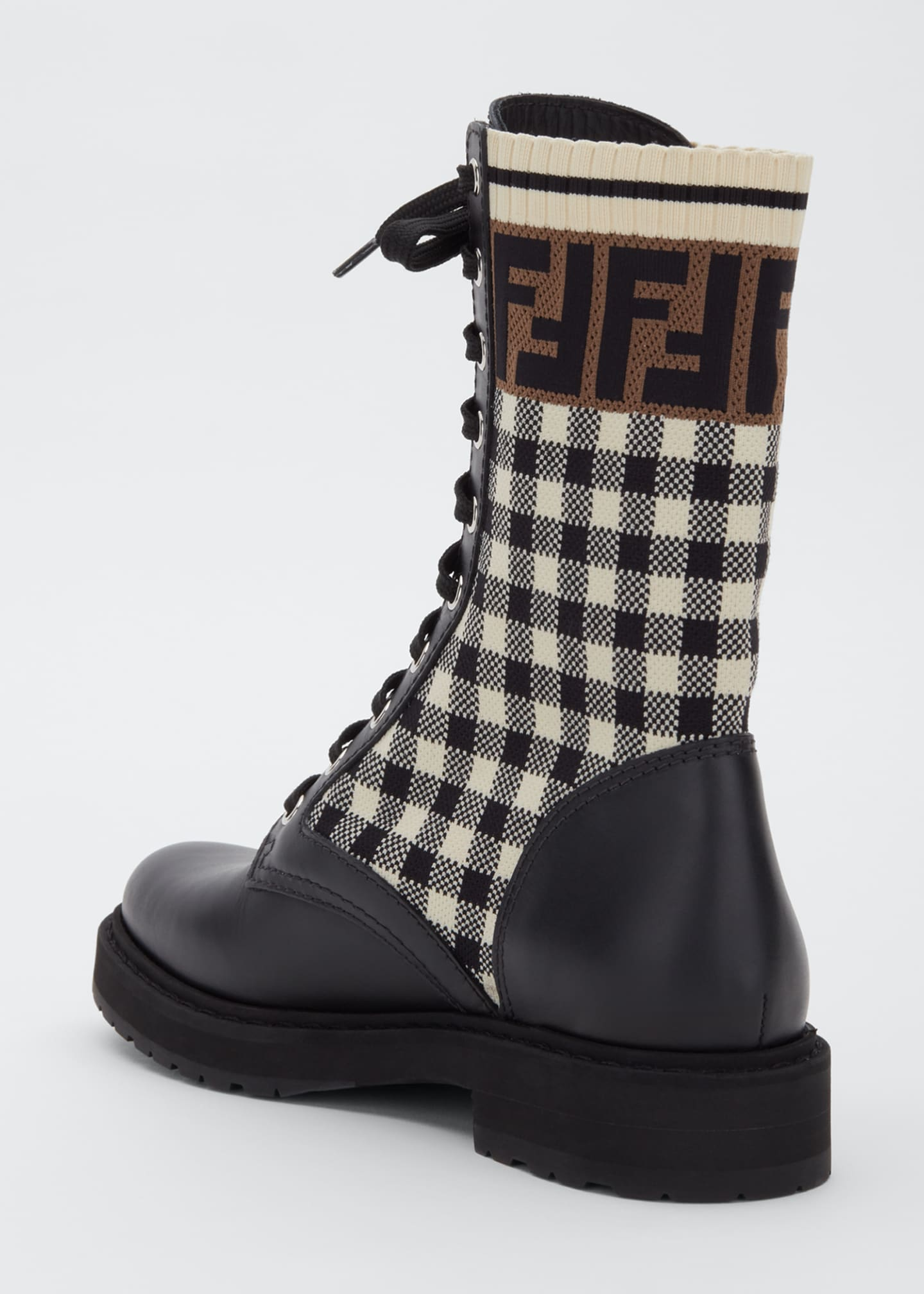 Image 2 of 3: FF Gingham Sock Hiker Combat Boots