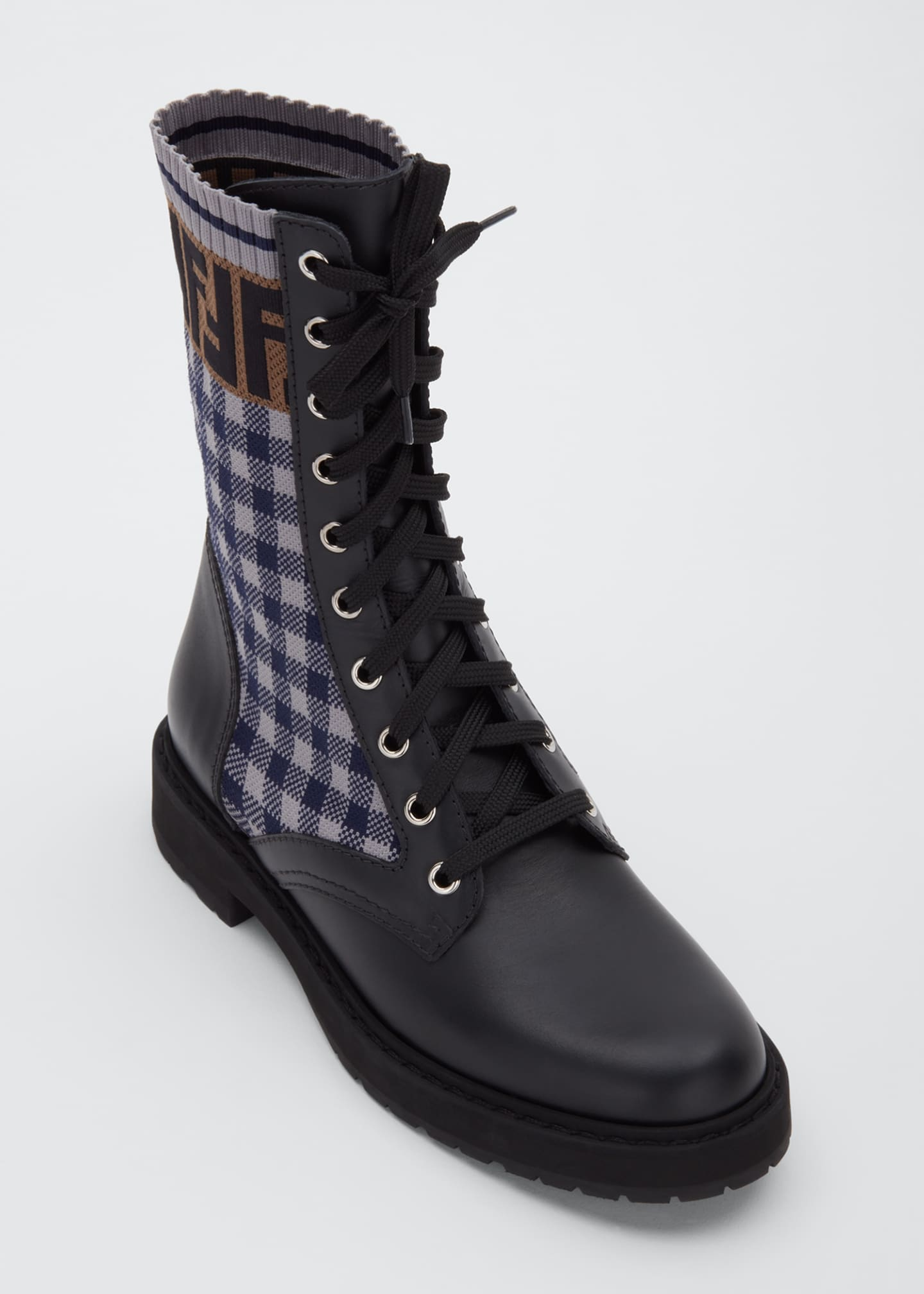 Image 3 of 3: FF Gingham Sock Hiker Combat Boots