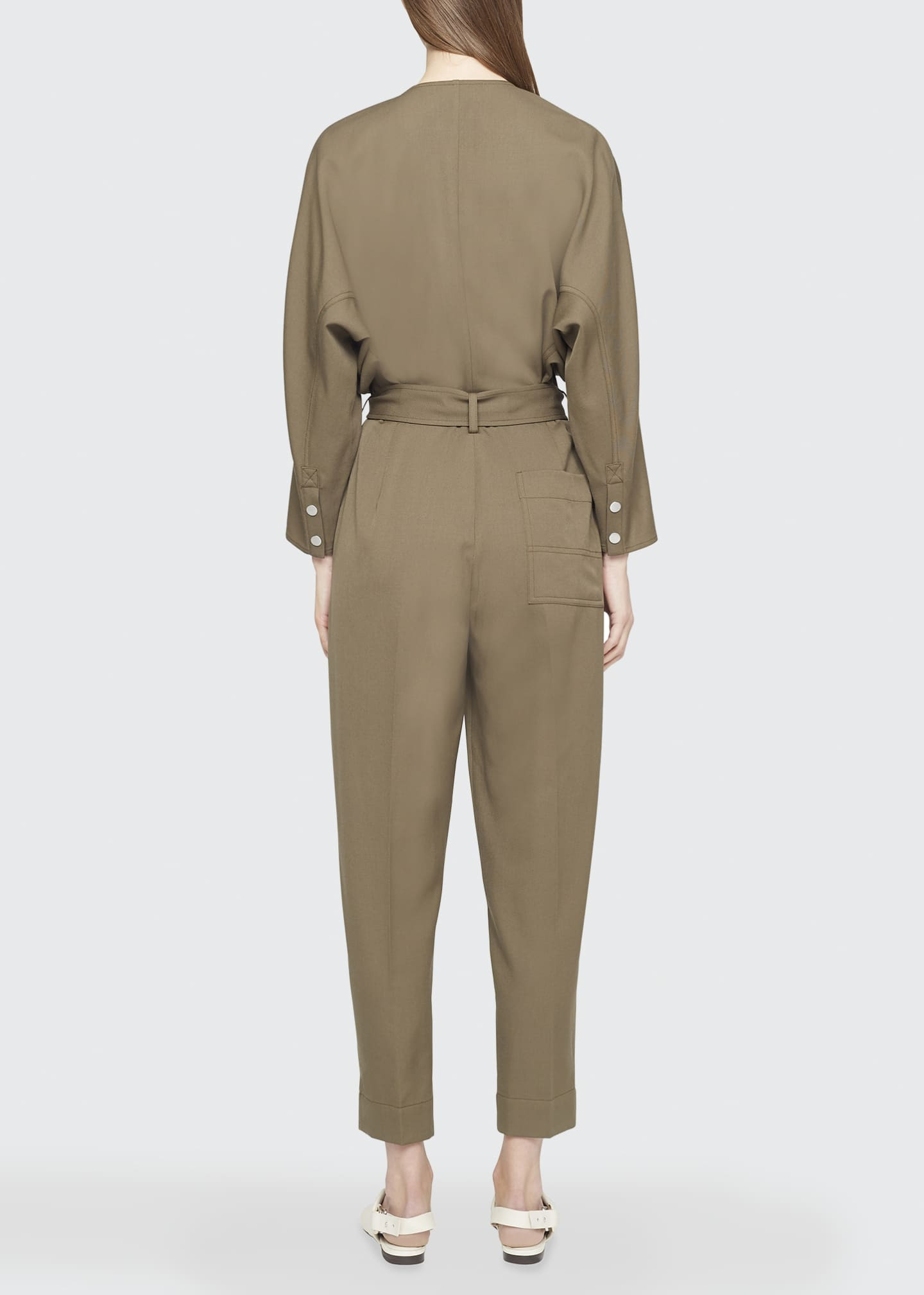 Image 2 of 4: Wool Menswear Belted Jumpsuit