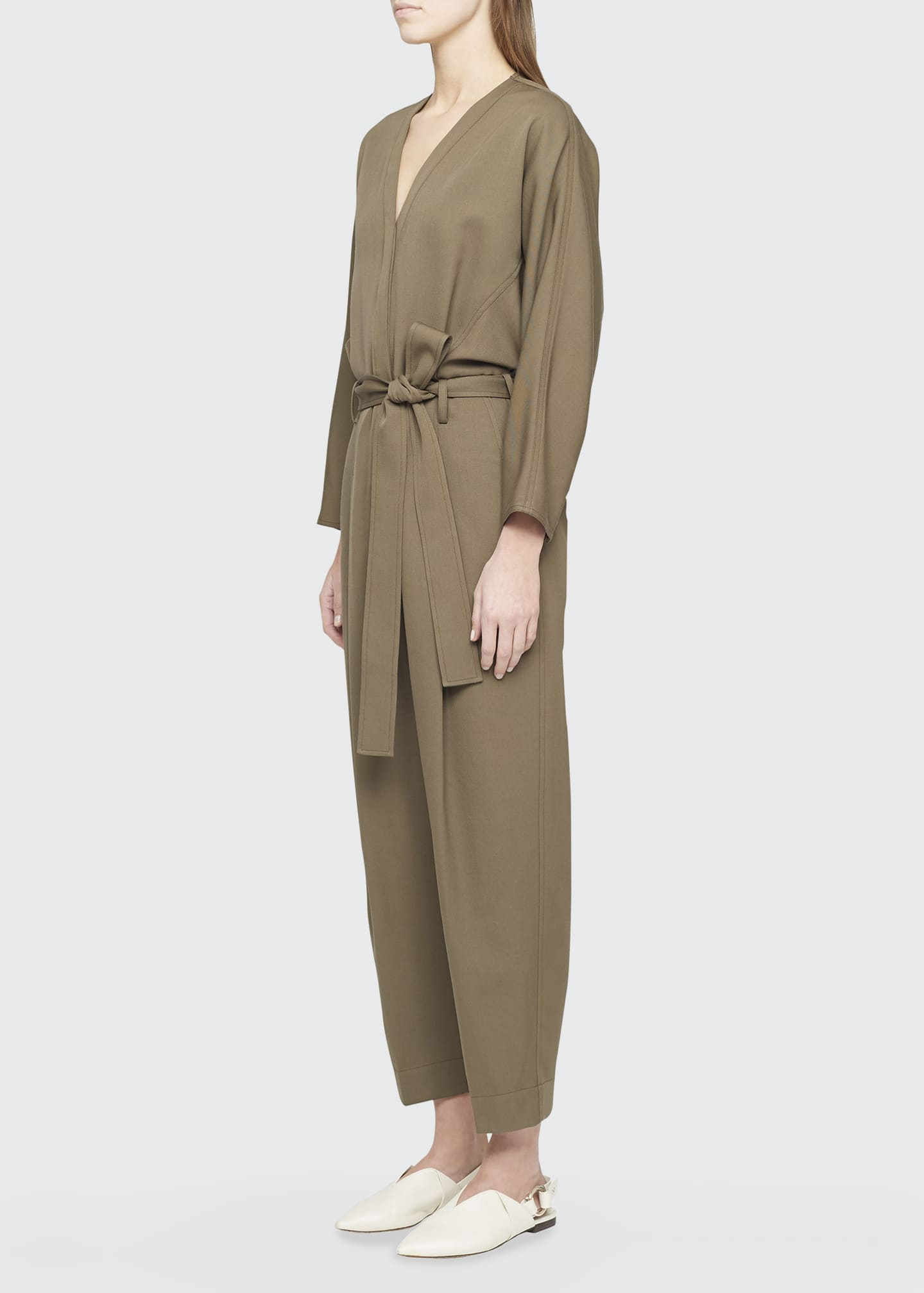 Image 3 of 4: Wool Menswear Belted Jumpsuit