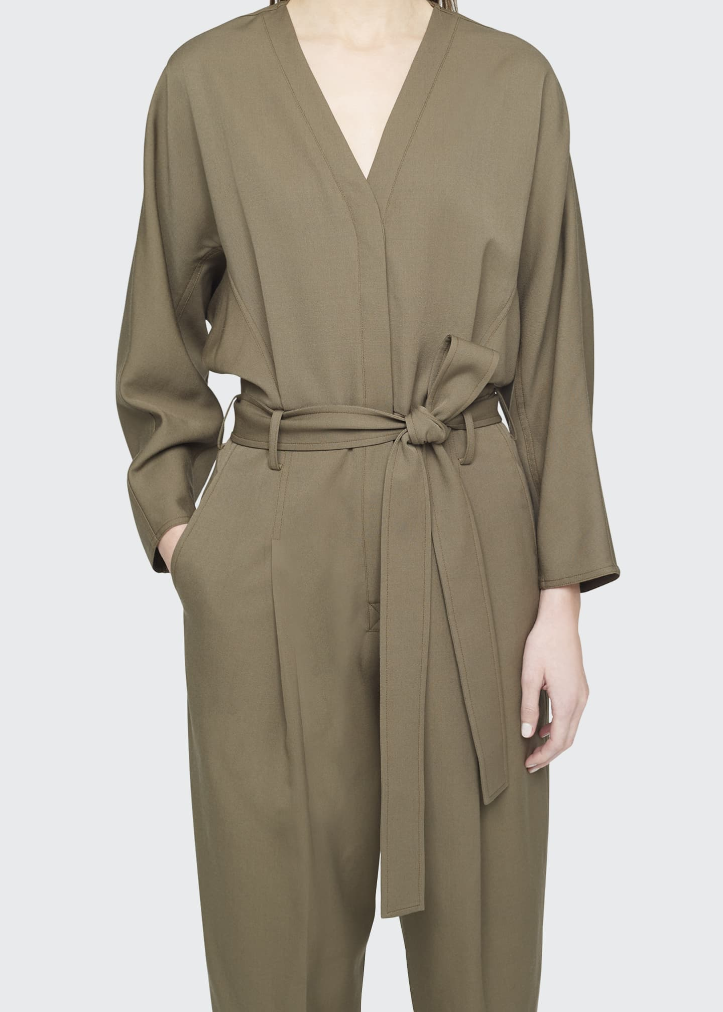 Image 4 of 4: Wool Menswear Belted Jumpsuit
