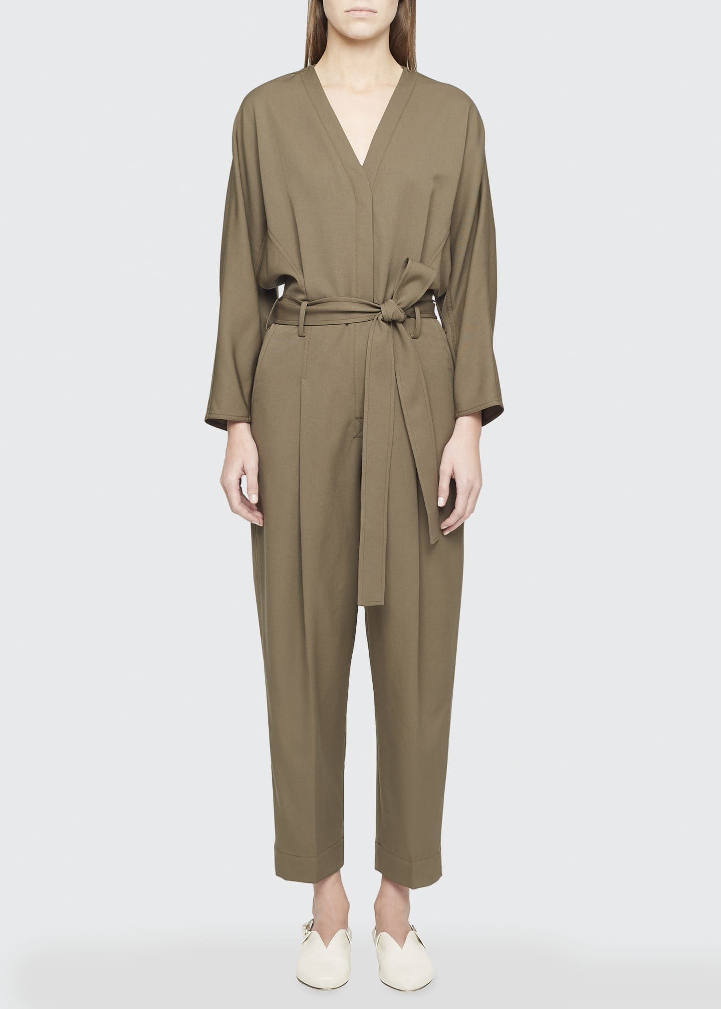 Image 1 of 4: Wool Menswear Belted Jumpsuit