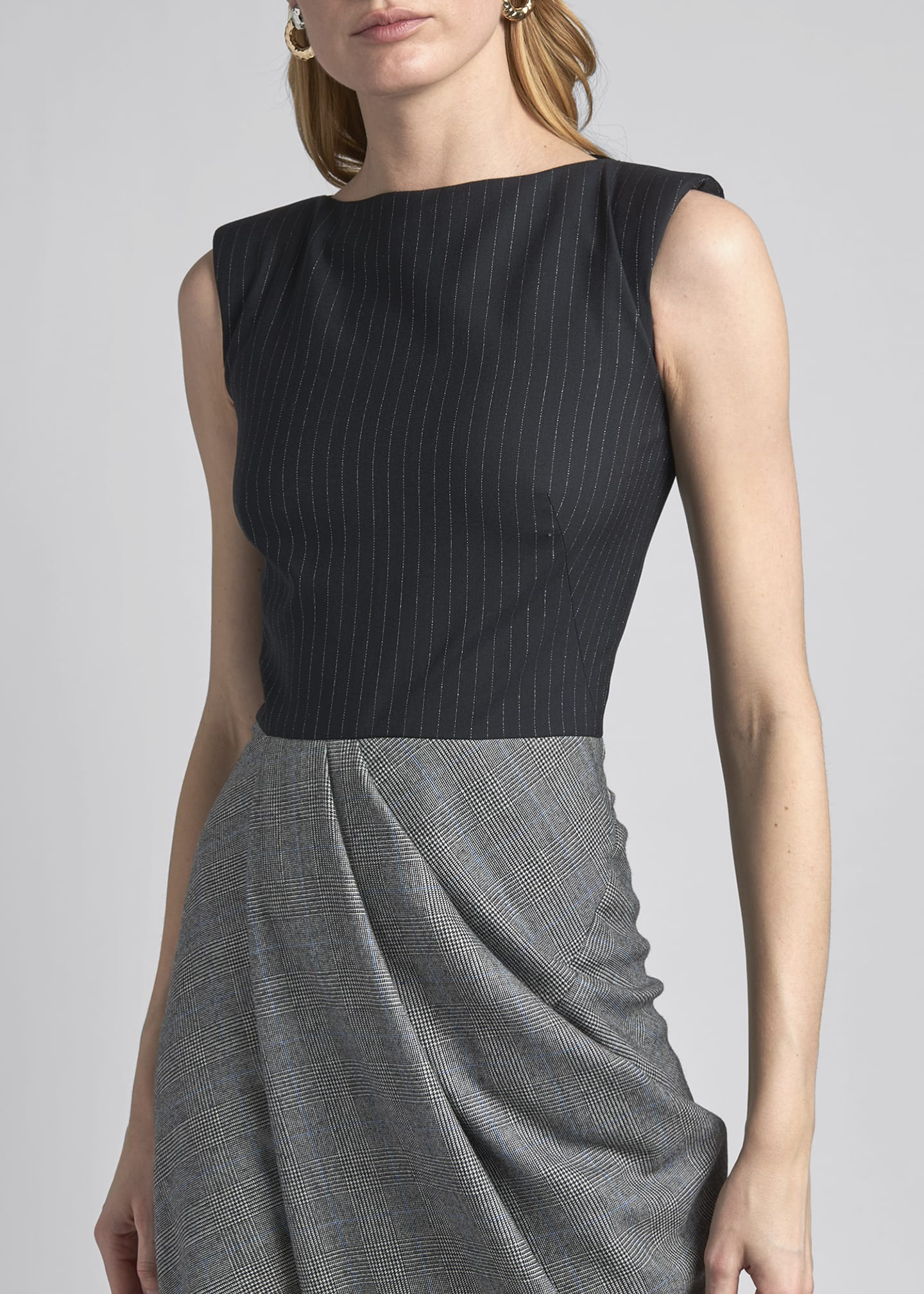 Image 4 of 4: Boat-Neck Draped Sleeveless Dress