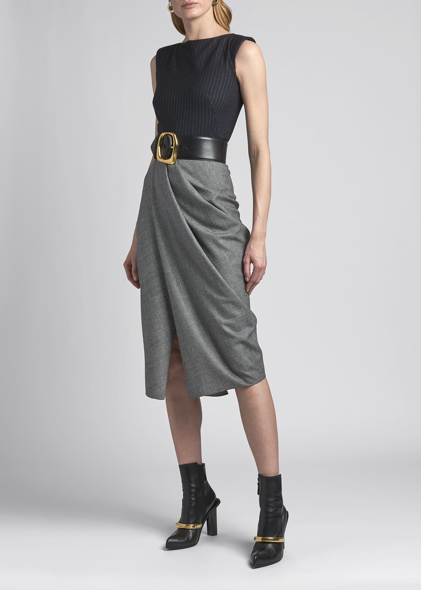 Image 1 of 4: Boat-Neck Draped Sleeveless Dress