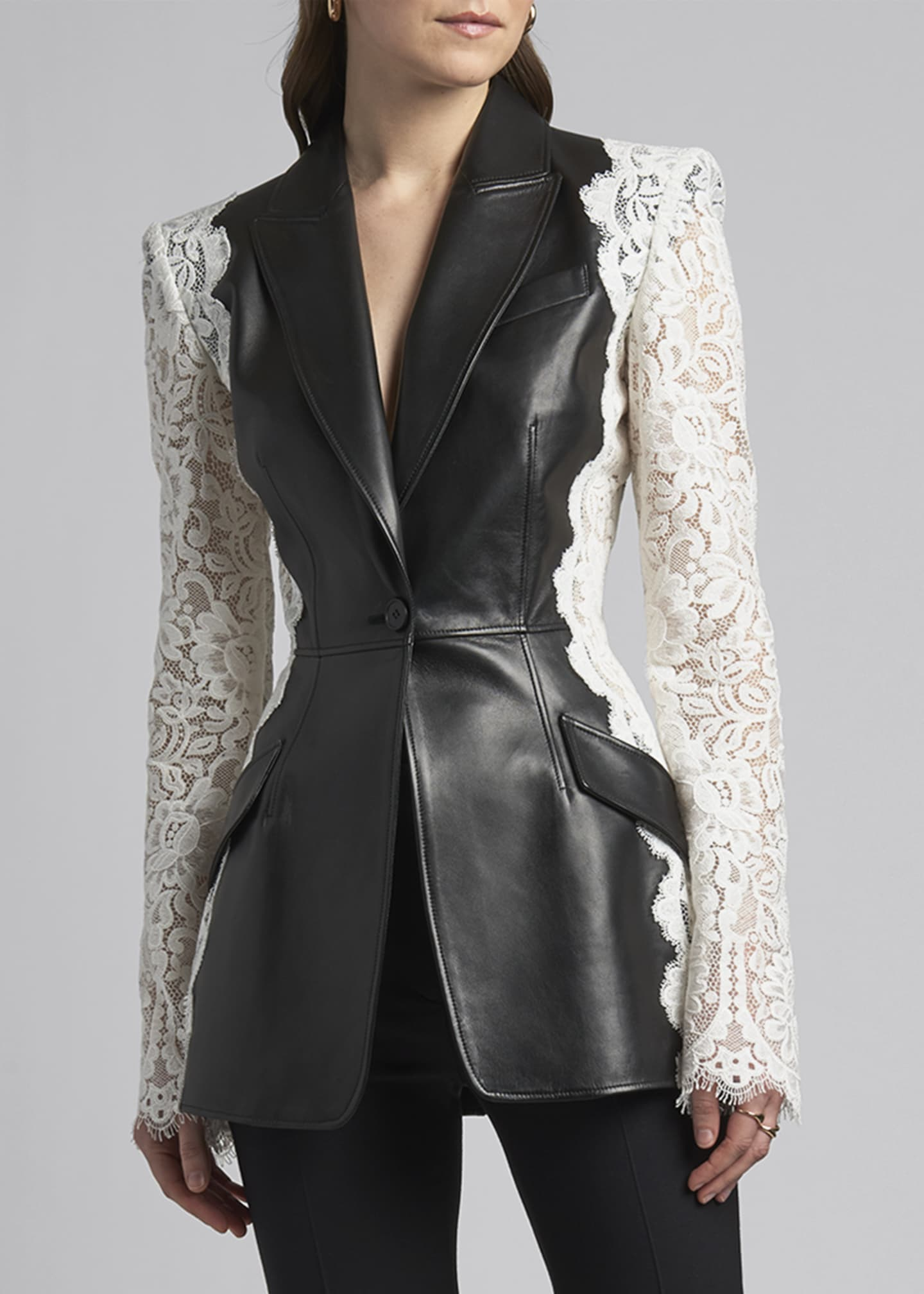 Image 3 of 4: Leather Jacket with Lace Sleeves