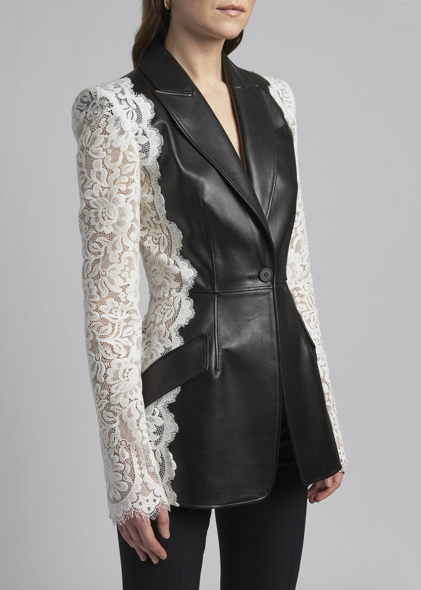 Image 4 of 4: Leather Jacket with Lace Sleeves