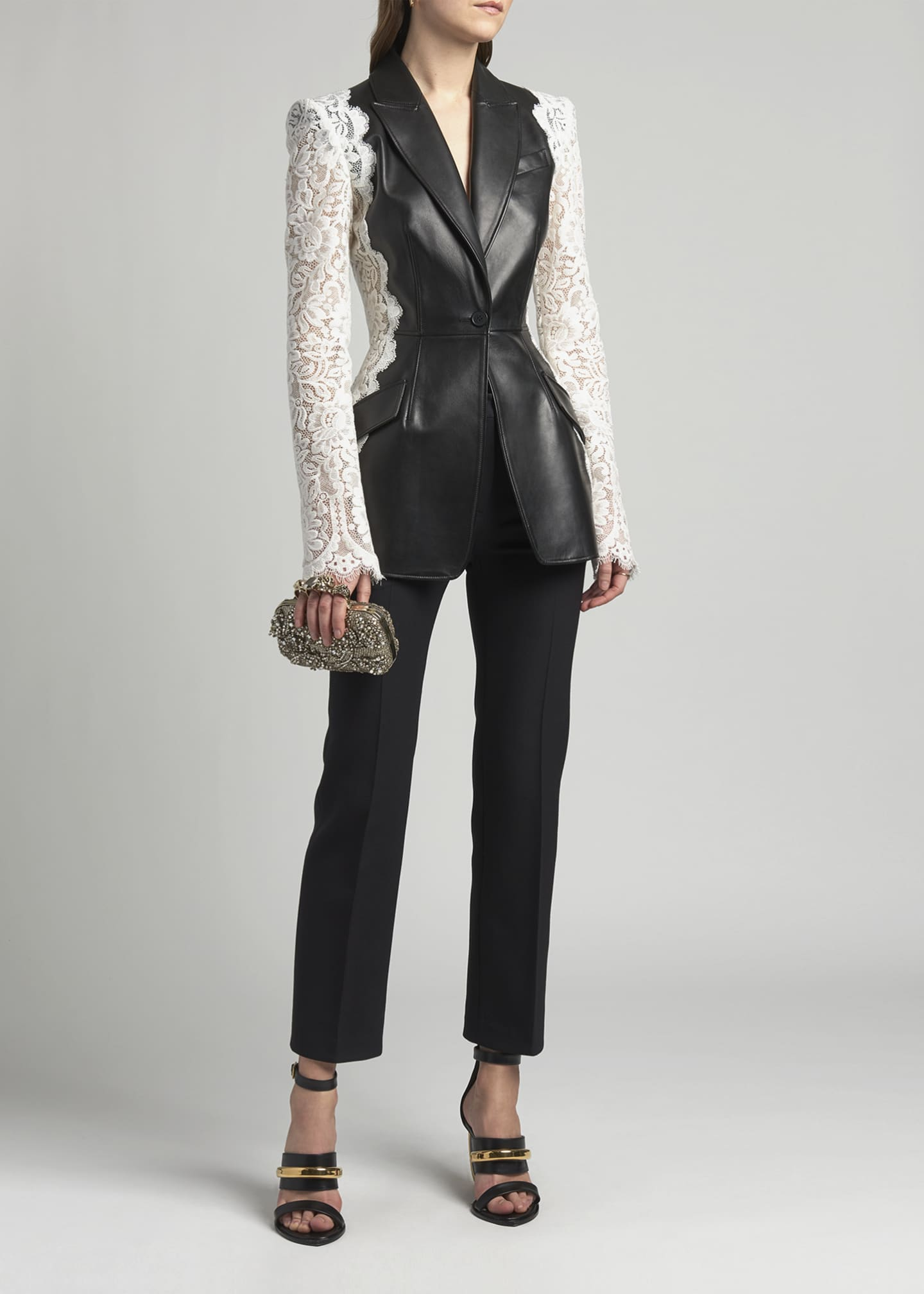 Image 1 of 4: Leather Jacket with Lace Sleeves