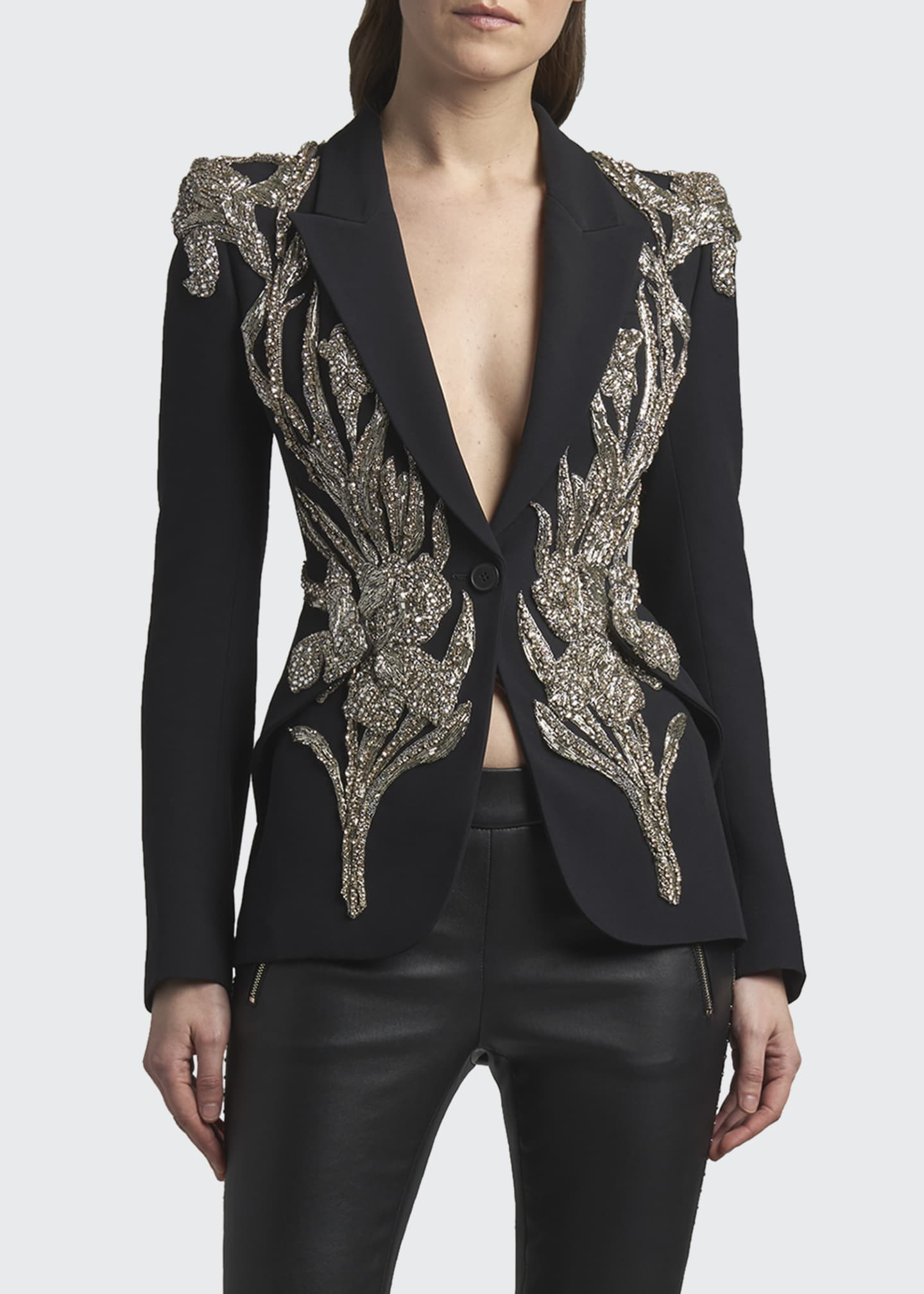 Image 1 of 2: Bead-Embellished One-Button Jacket