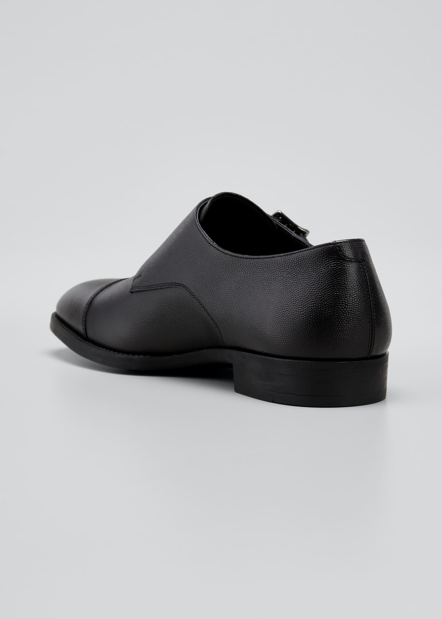 Image 2 of 3: Men's Double-Monk Strap Pebbled Leather Loafers